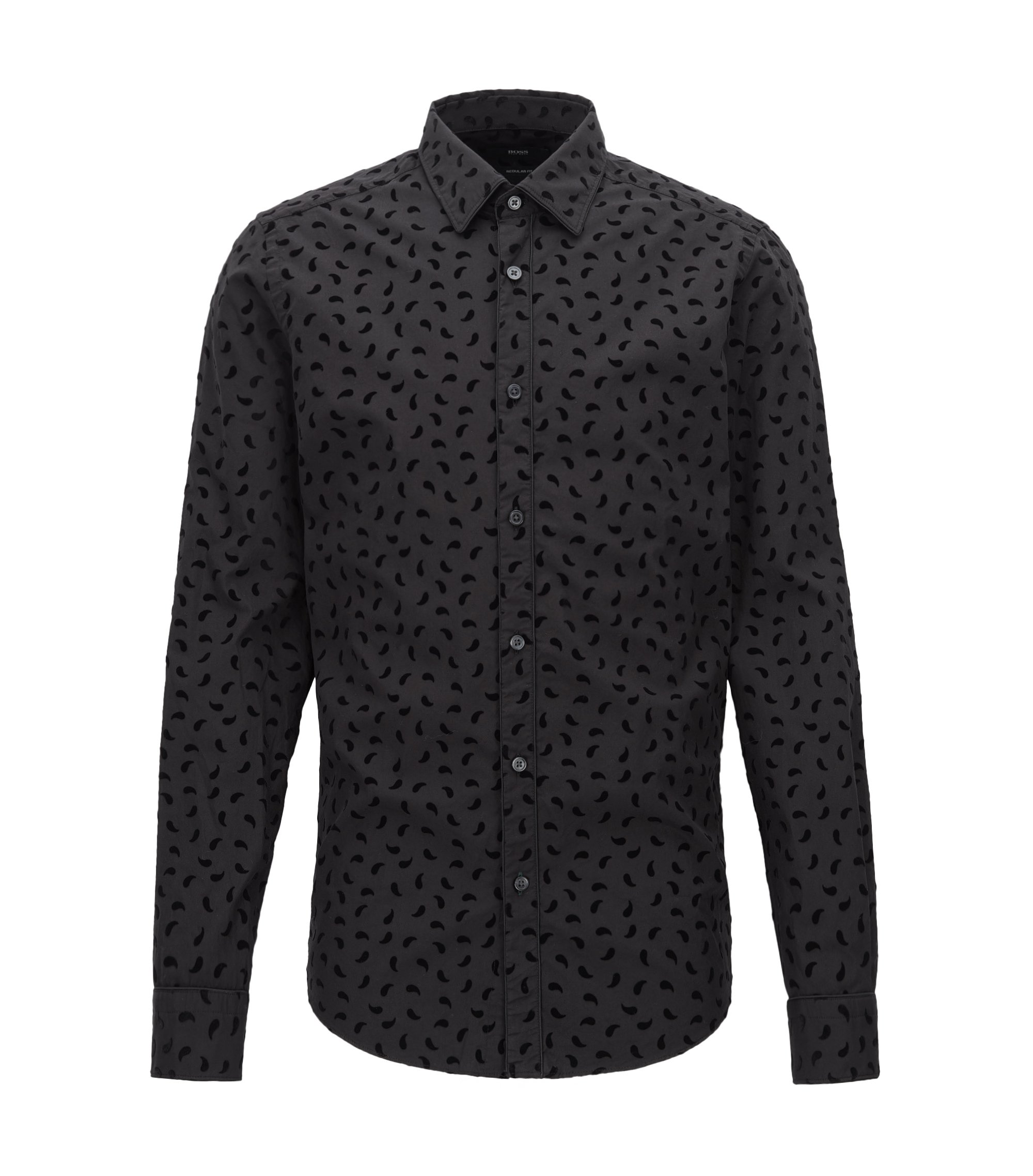 Regular-fit cotton shirt with paisley flock print, Black
