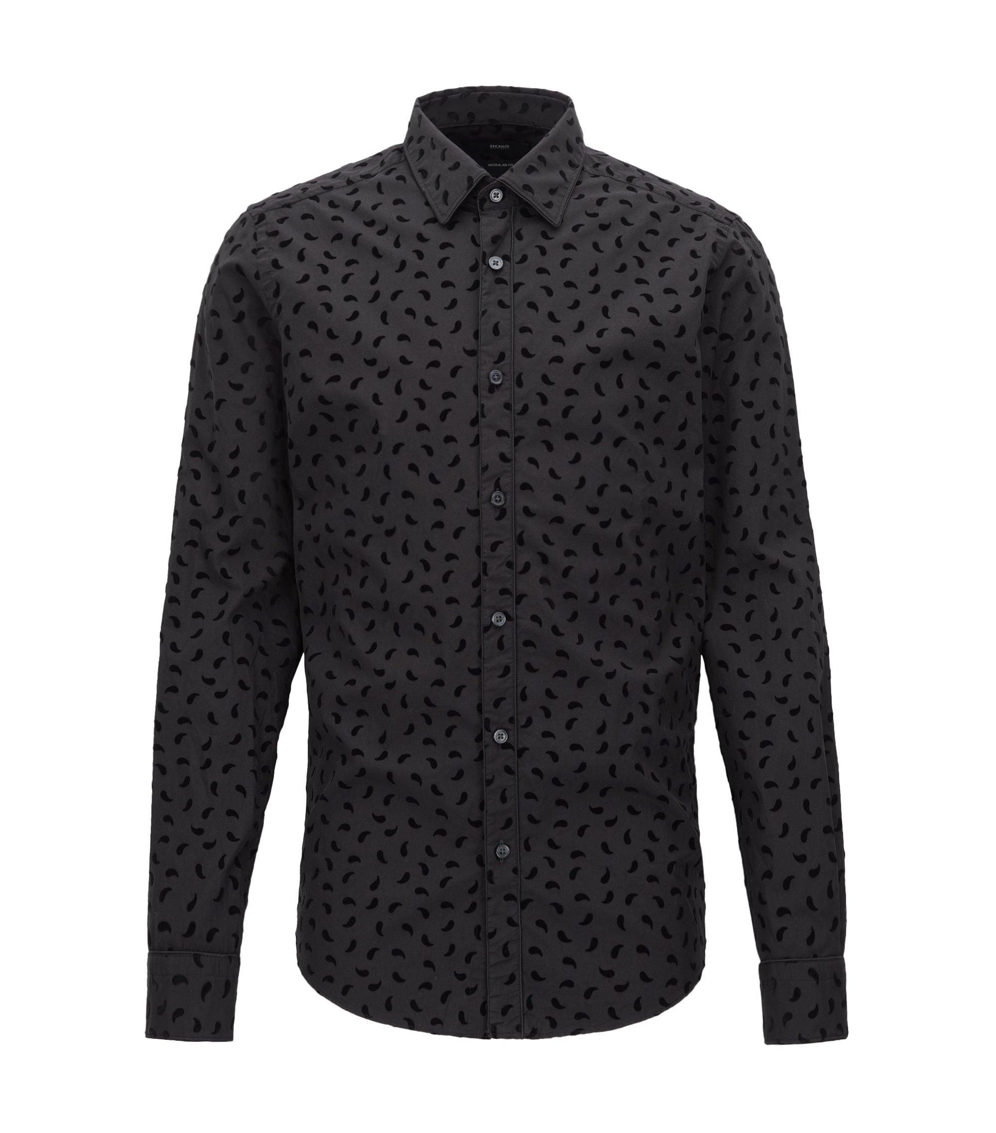 Regular-Fit Hemd aus Baumwolle mit Paisley-Flockdruck, Schwarz