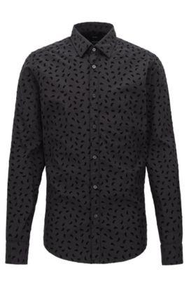 Regular-fit cotton shirt with paisley flock print, Black