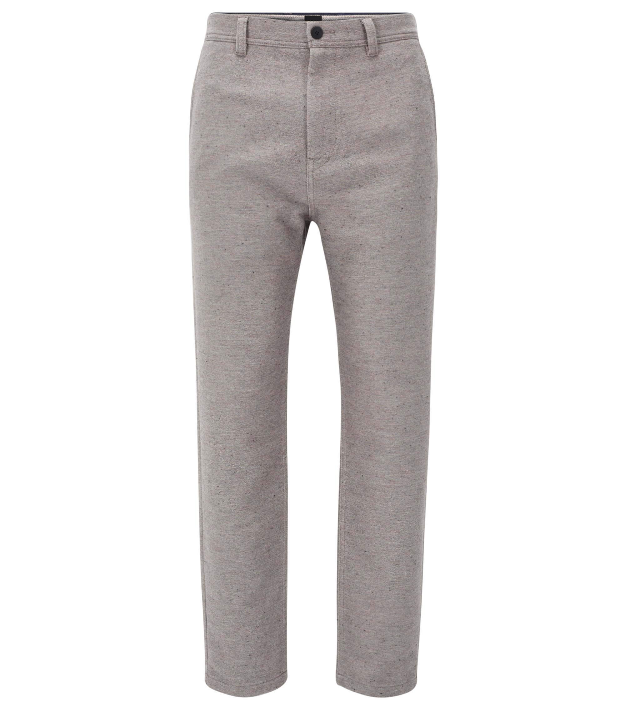 Tapered-fit trousers in a cotton blend, Light Grey