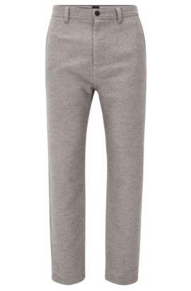 Pantalon Tapered Fit en coton mélangé, Gris chiné
