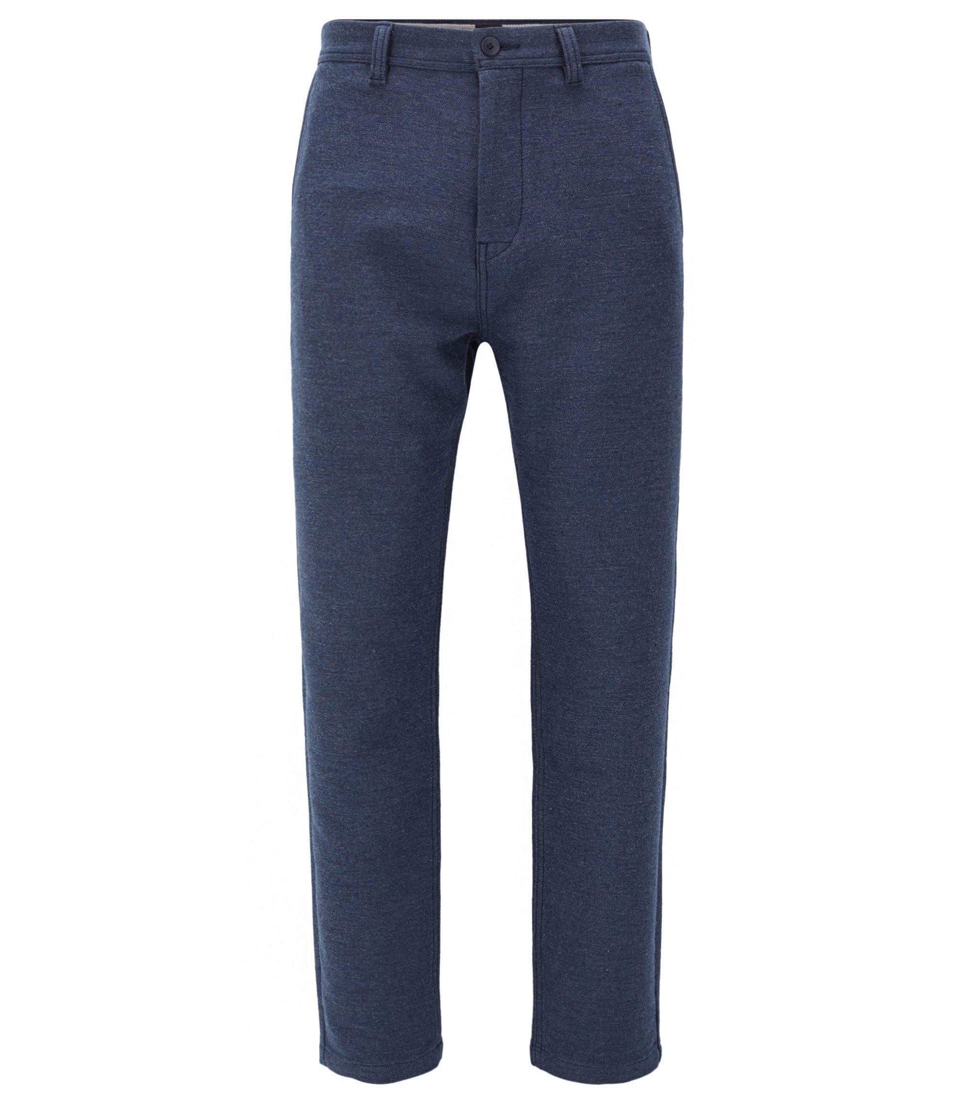 Tapered-fit broek van een katoenmix, Donkerblauw