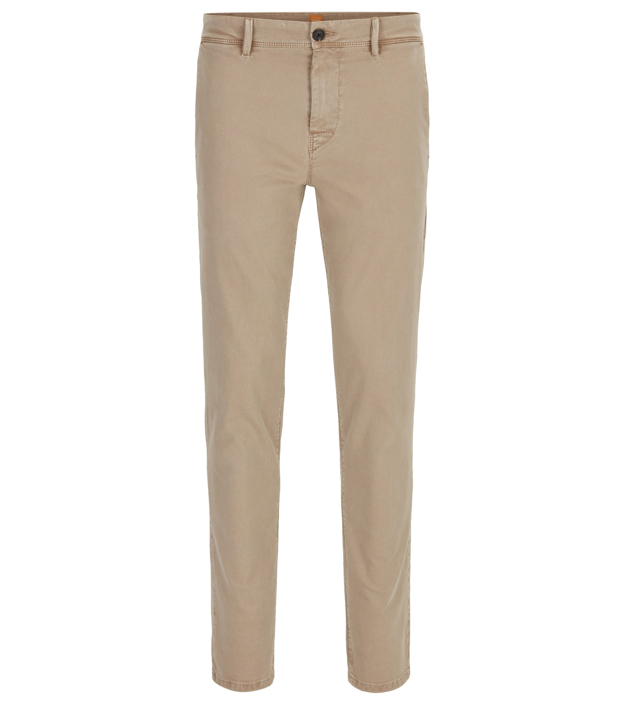 Tapered-fit chino van dubbelgeverfde stretchkatoen, Beige