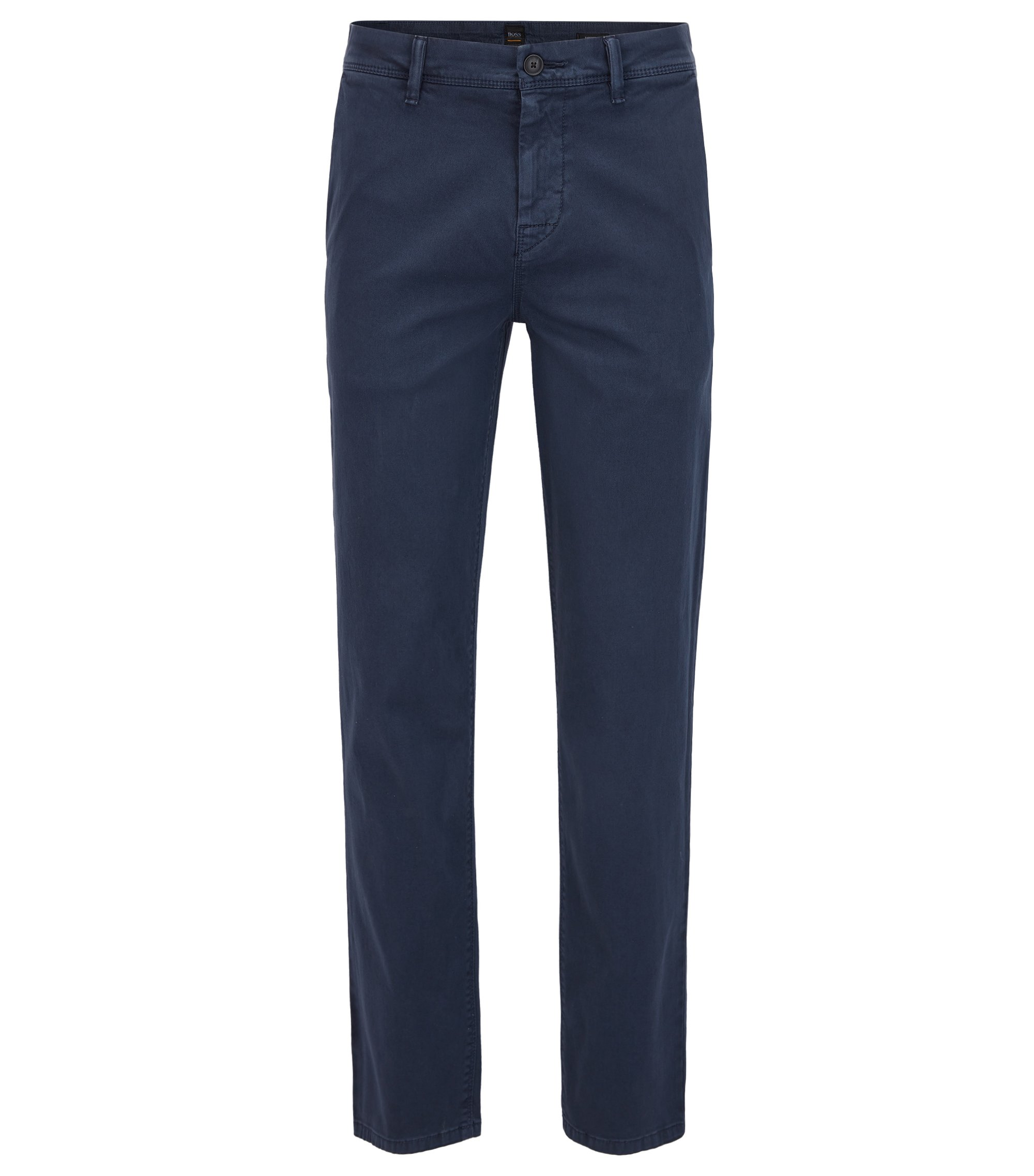 Tapered-fit chinos in double-dyed stretch cotton, Dark Blue