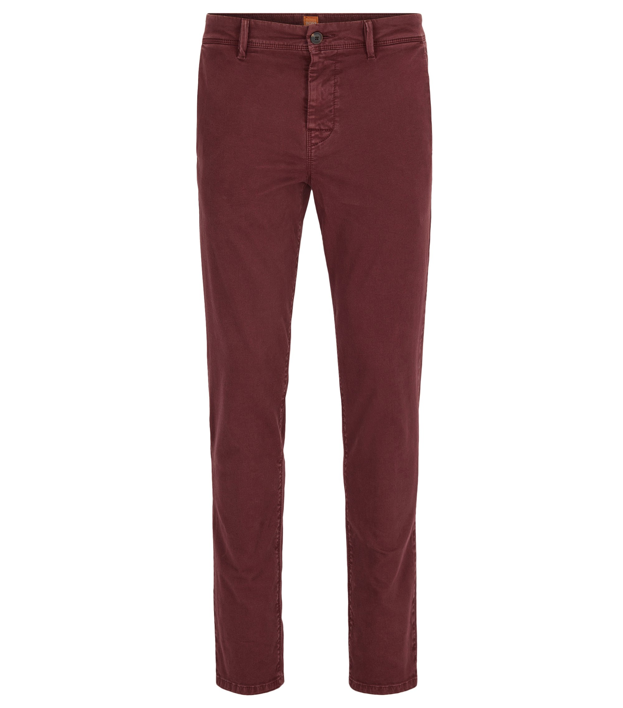 Tapered-fit chinos in double-dyed stretch cotton, Dark Red