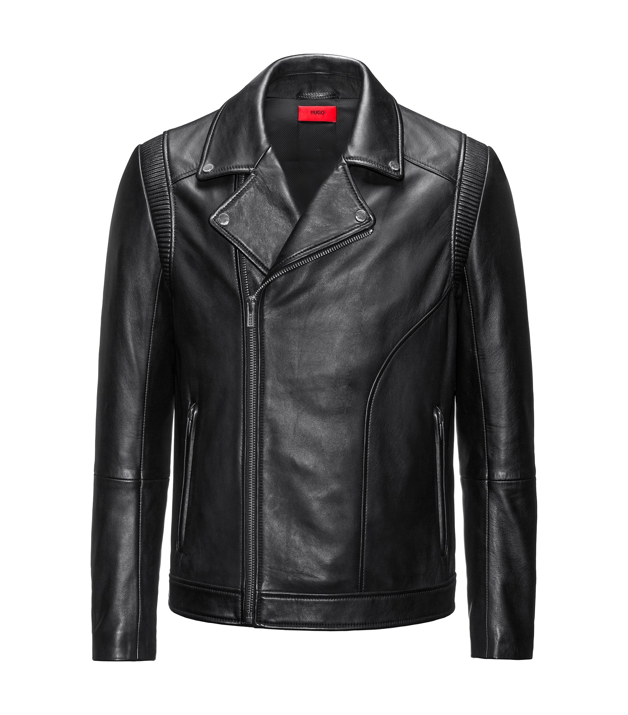 Slim-fit biker jacket in nappa leather, Black