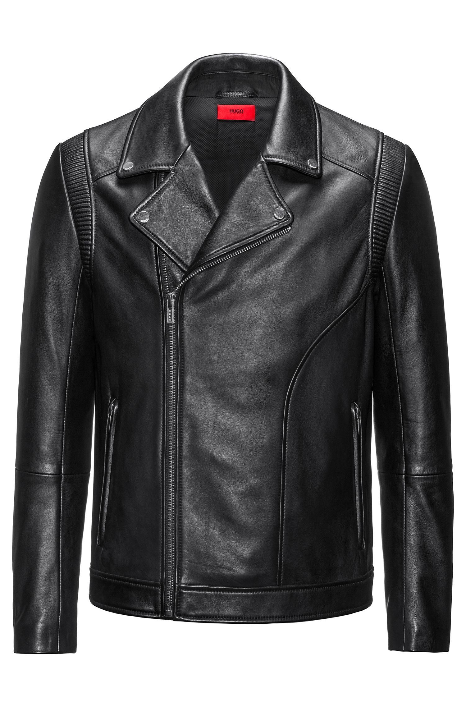 Giubbotto biker slim fit in pelle nappa