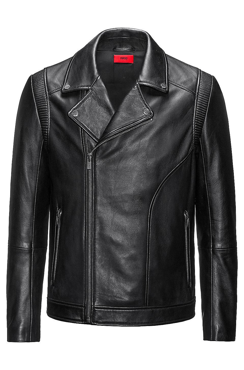 Slim-fit biker jacket in nappa leather, Black