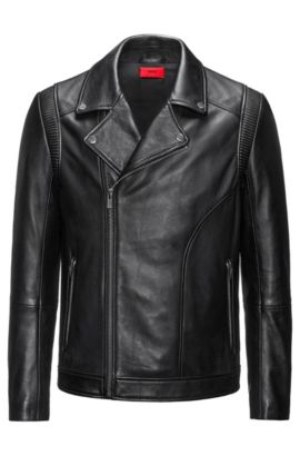 Giubbotto biker slim fit in pelle nappa, Nero
