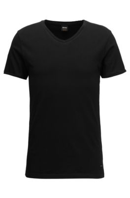 T-shirt regular fit in cotone con scollo a V, Nero