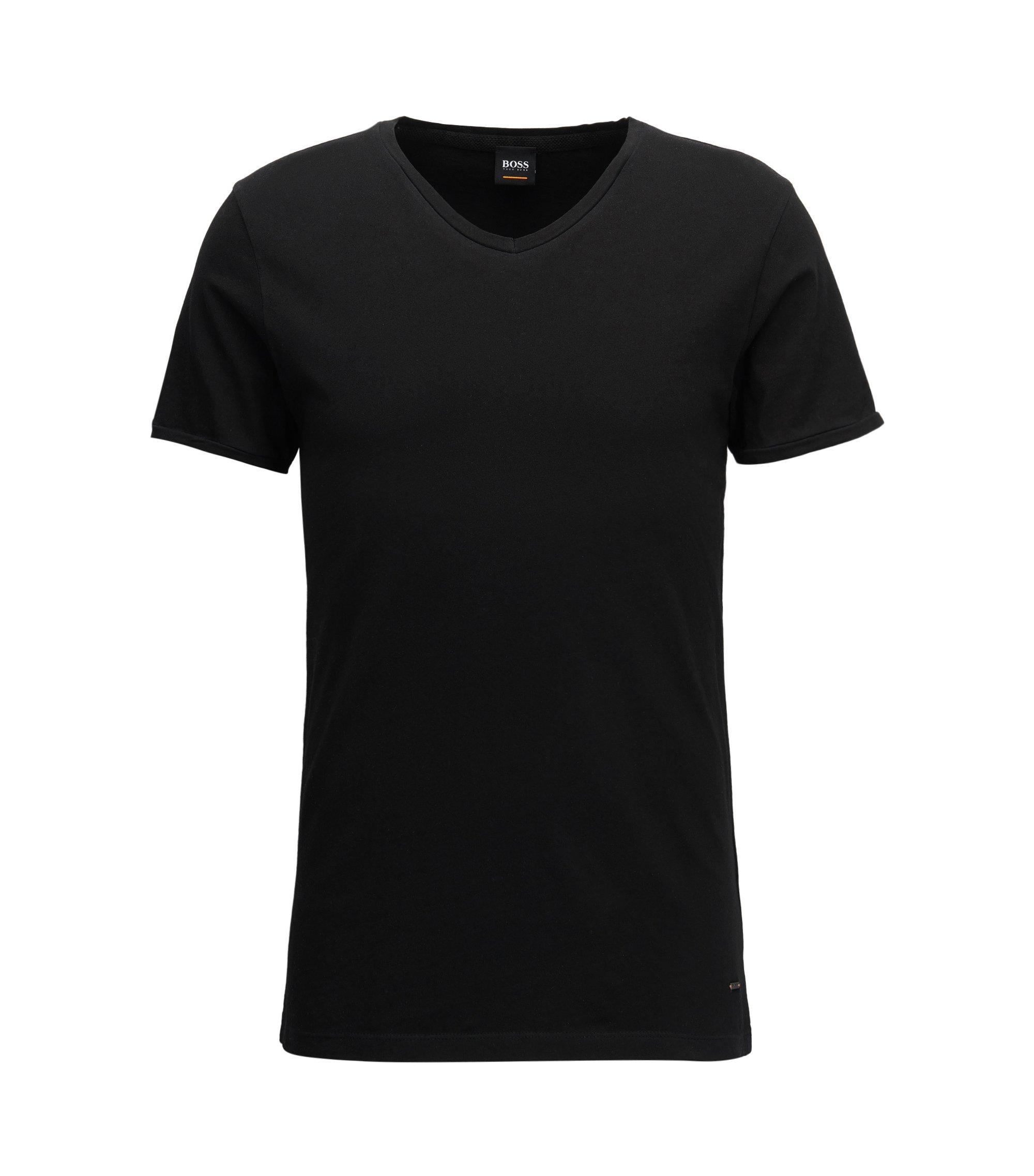 T-shirt Regular Fit en coton, à colV, Noir
