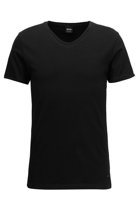 T-shirt Regular Fit en coton, à col V, Noir