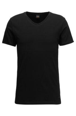 Regular-fit cotton T-shirt with V-neckline, Black
