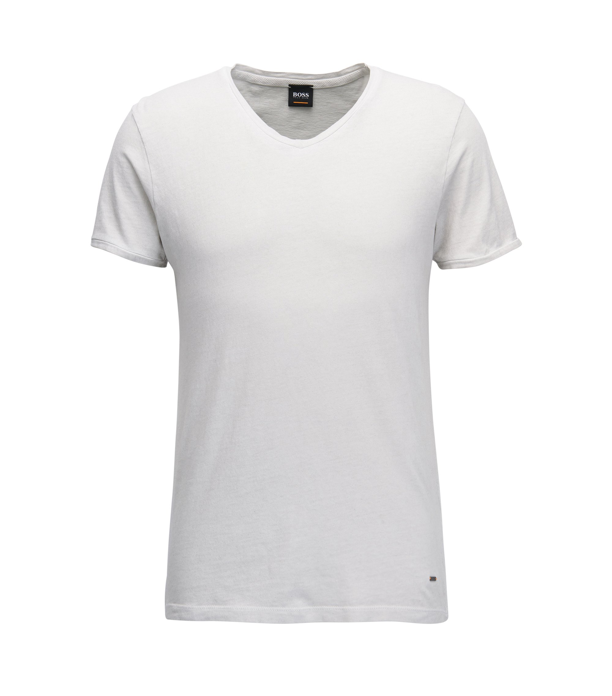 T-shirt regular fit in cotone con scollo a V, Naturale