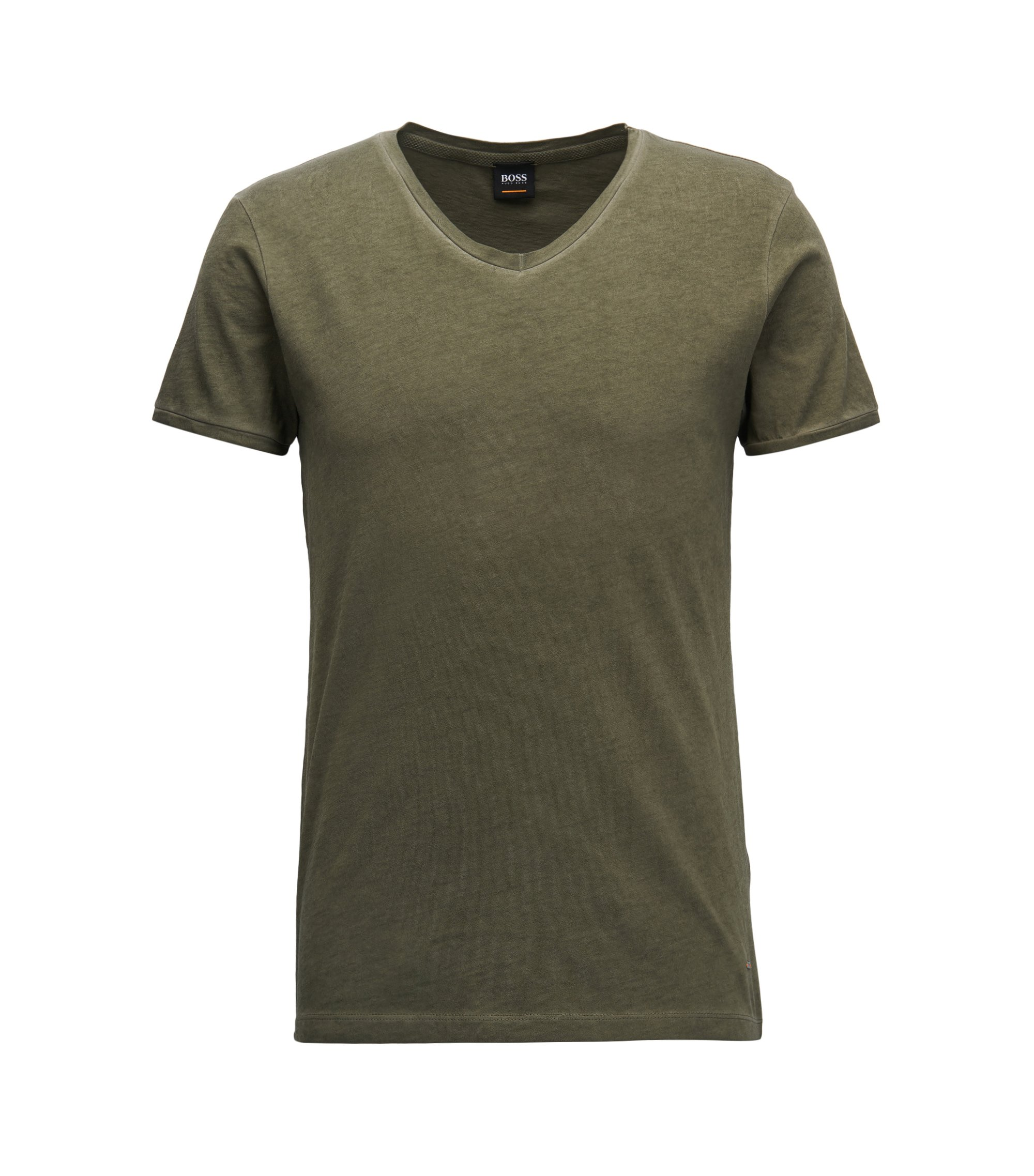 T-shirt Regular Fit en coton, à col V, Vert sombre