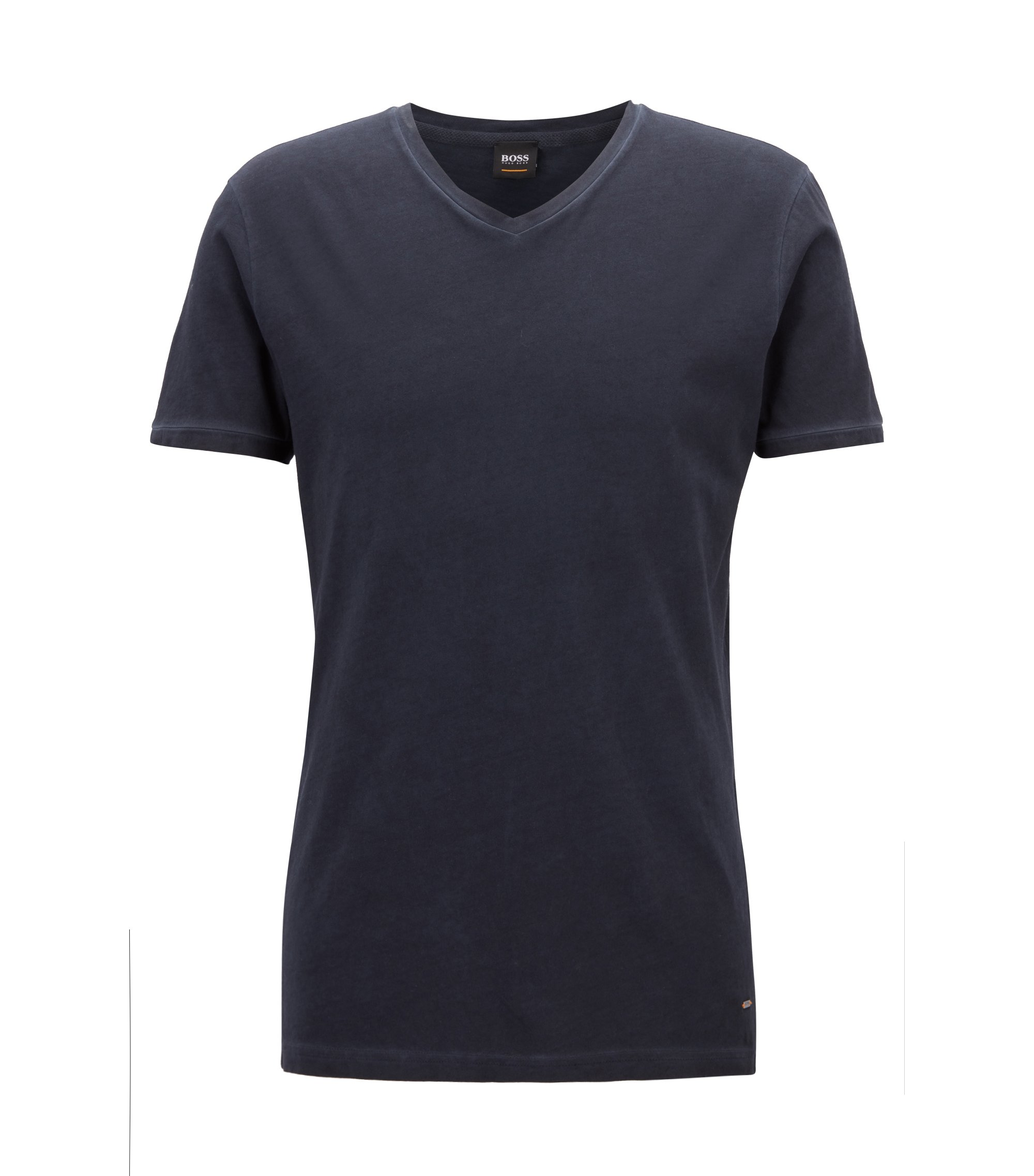 Regular-fit cotton T-shirt with V-neckline, Dark Blue