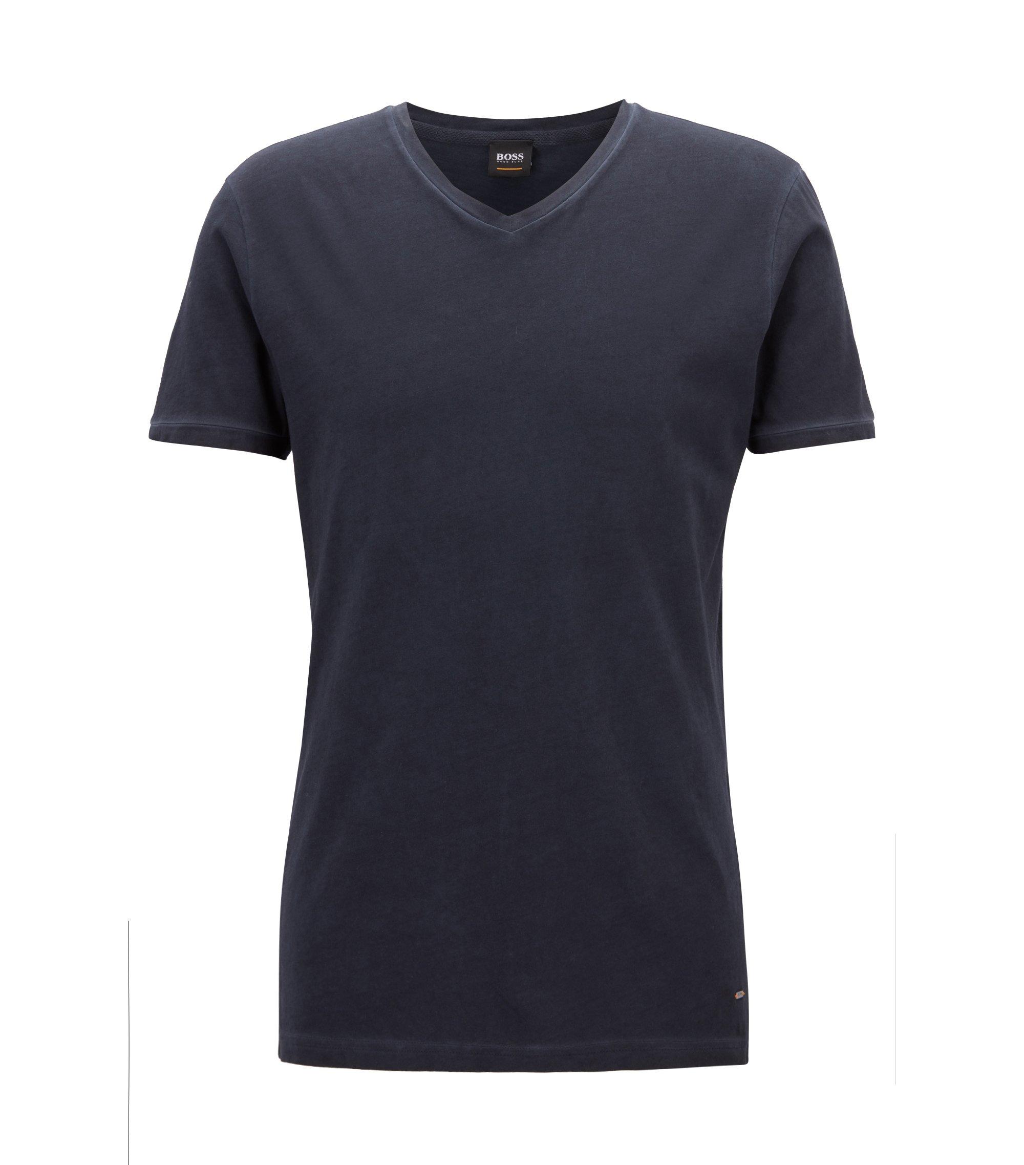 Regular-fit T-shirt van katoen met V-hals, Donkerblauw