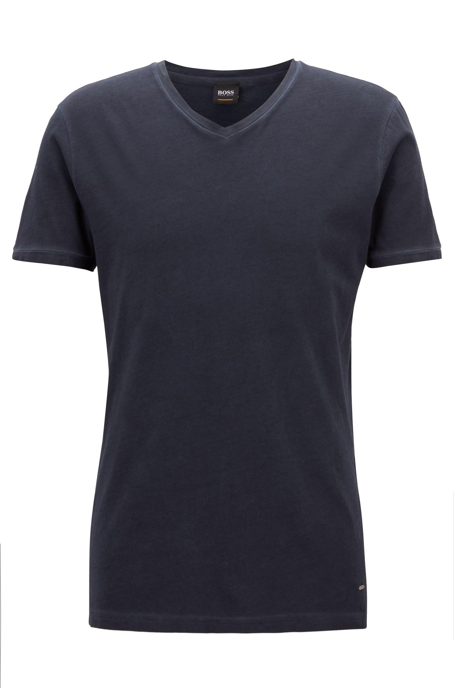 T-shirt Regular Fit en coton, à colV, Bleu foncé