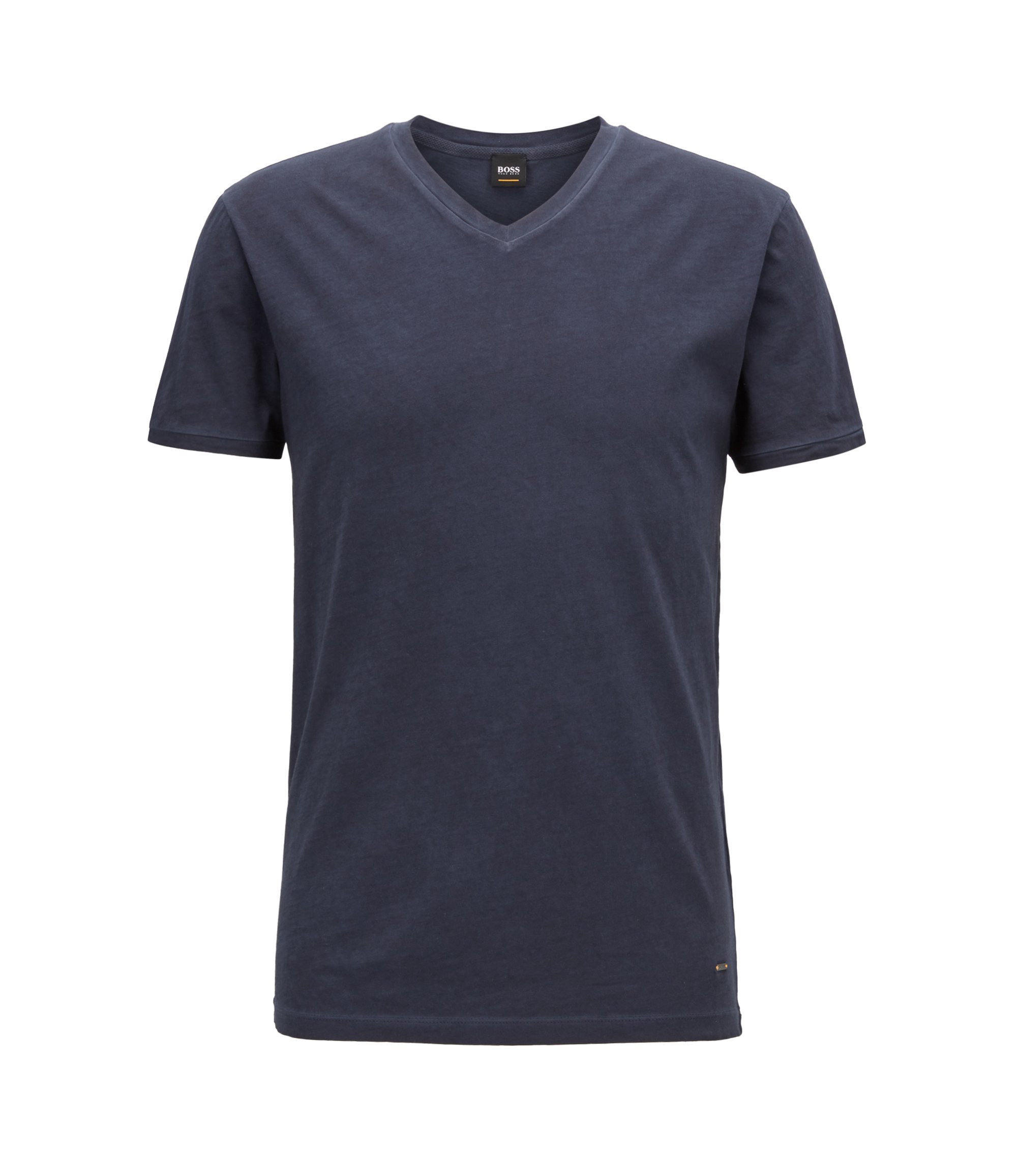 T-shirt regular fit in cotone con scollo a V, Blu scuro
