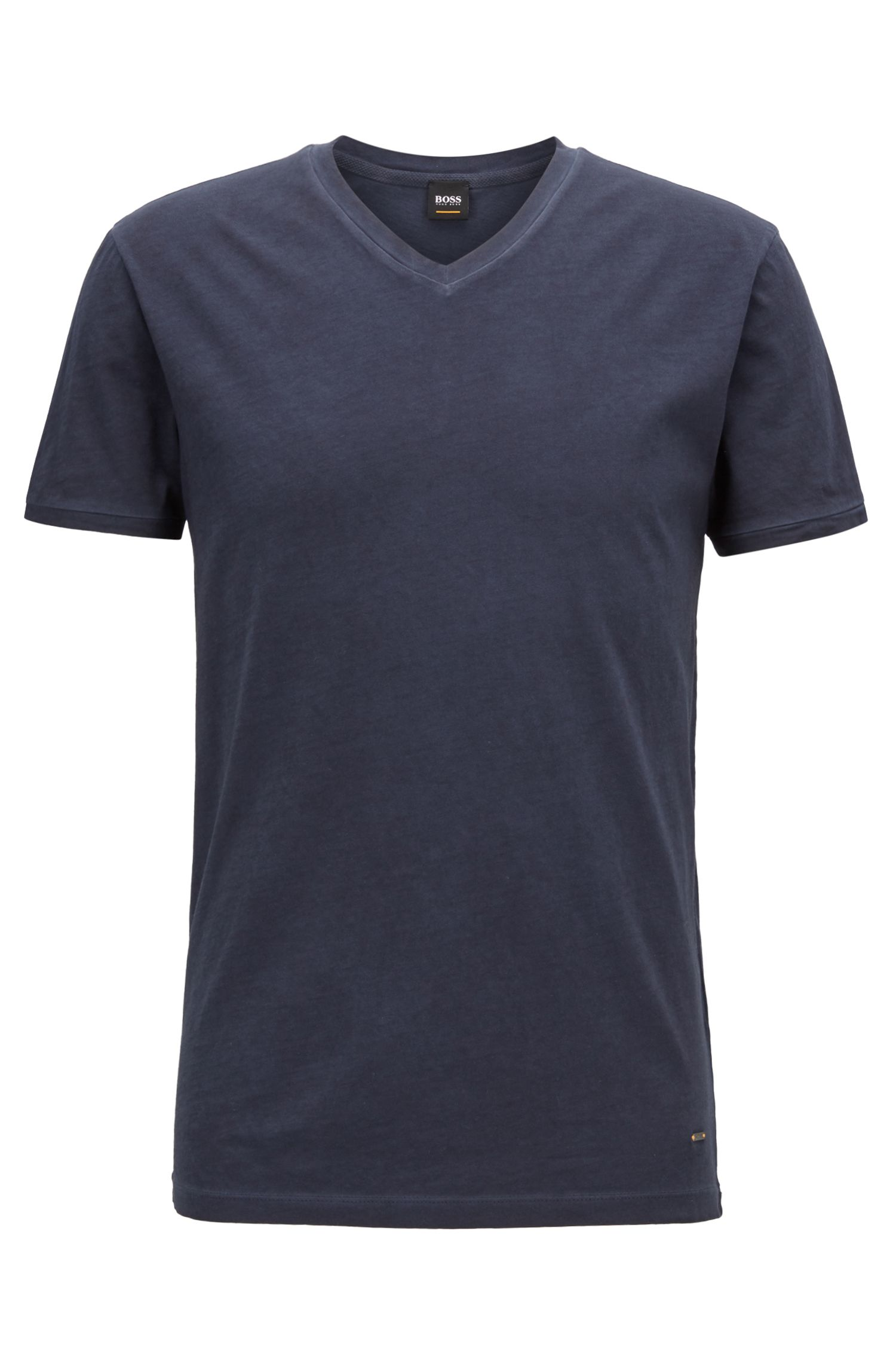 Regular-Fit T-Shirt aus Baumwolle mit V-Ausschnitt
