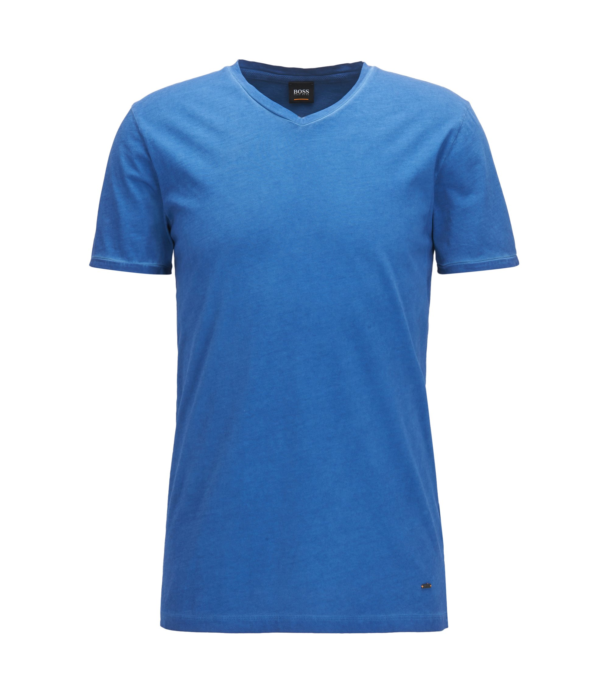 Regular-fit cotton T-shirt with V-neckline, Blue