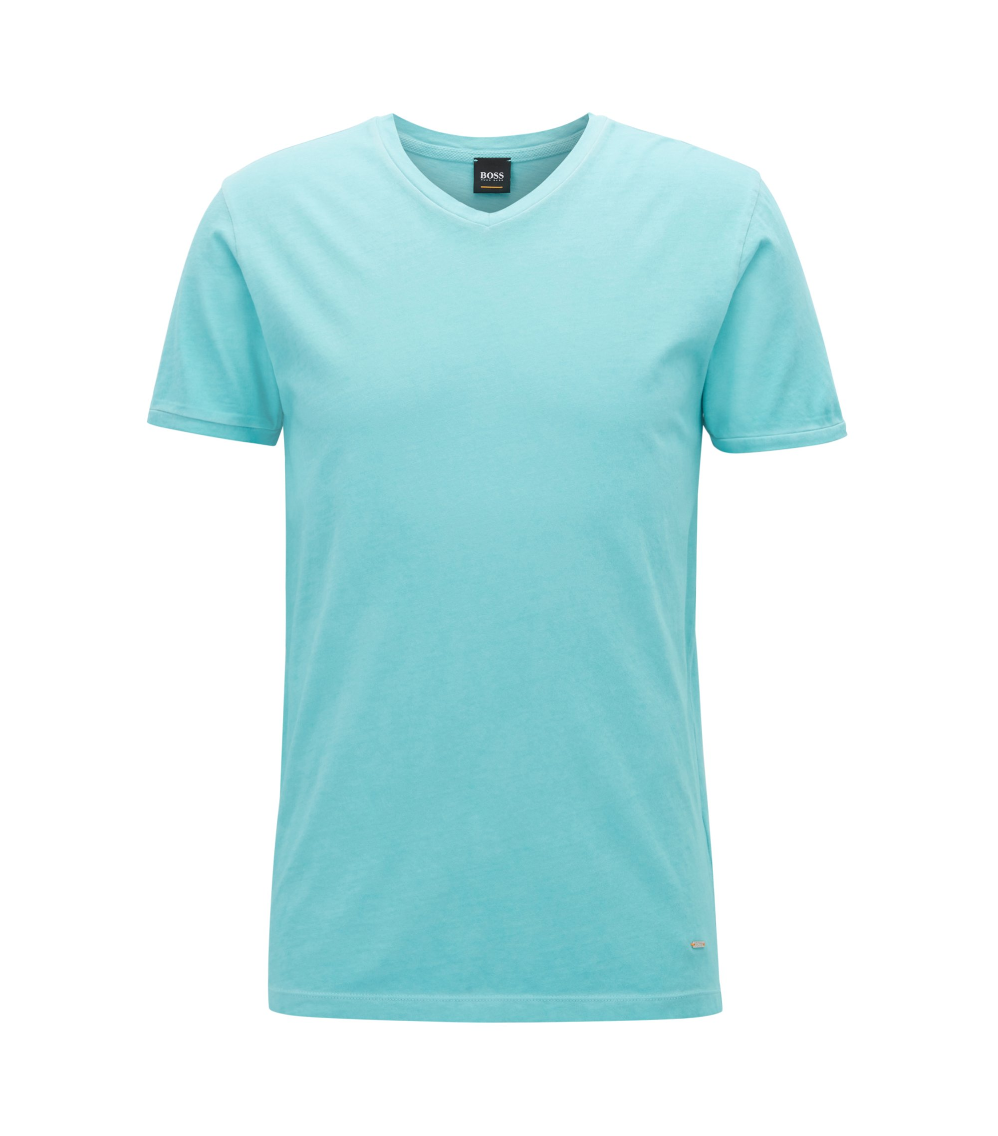 T-shirt Regular Fit en coton, à col V, Turquoise