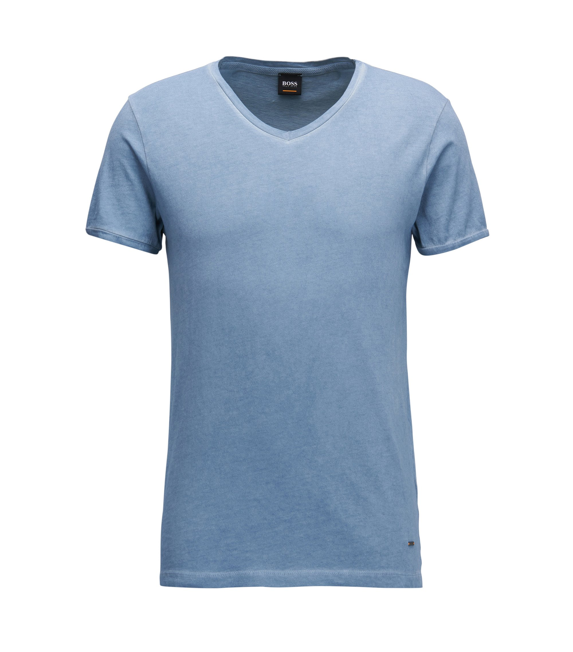 Regular-fit cotton T-shirt with V-neckline, Light Blue
