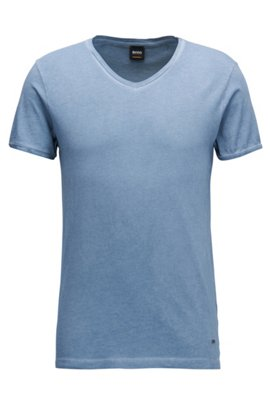 Regular-fit cotton T-shirt with V-neckline, Light Blue