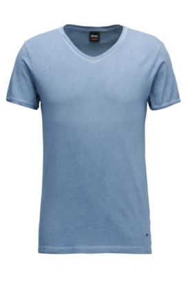 T-shirt regular fit in cotone con scollo a V, Celeste