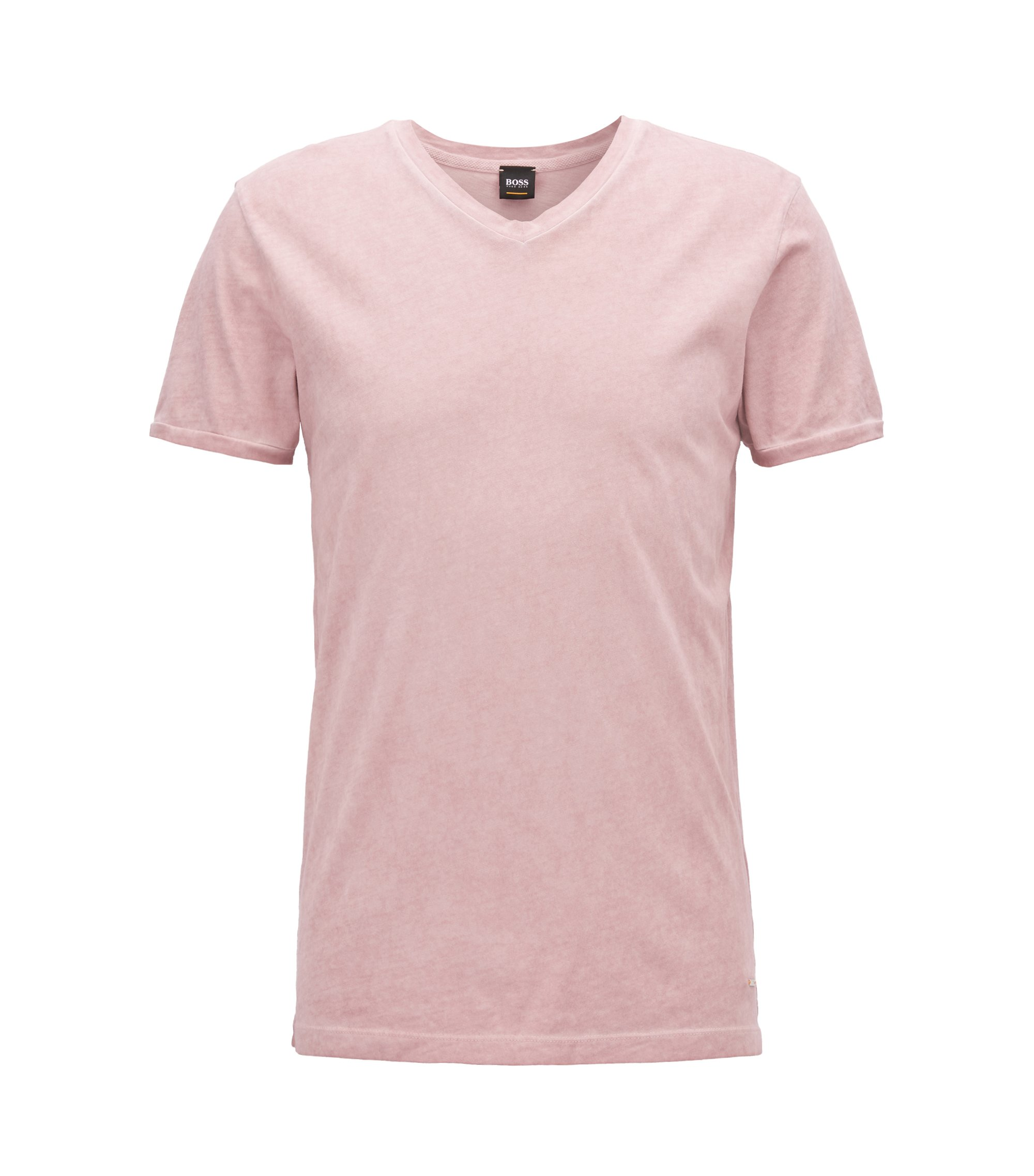 Camiseta de algodón regular fit con cuello en pico, Rosa claro