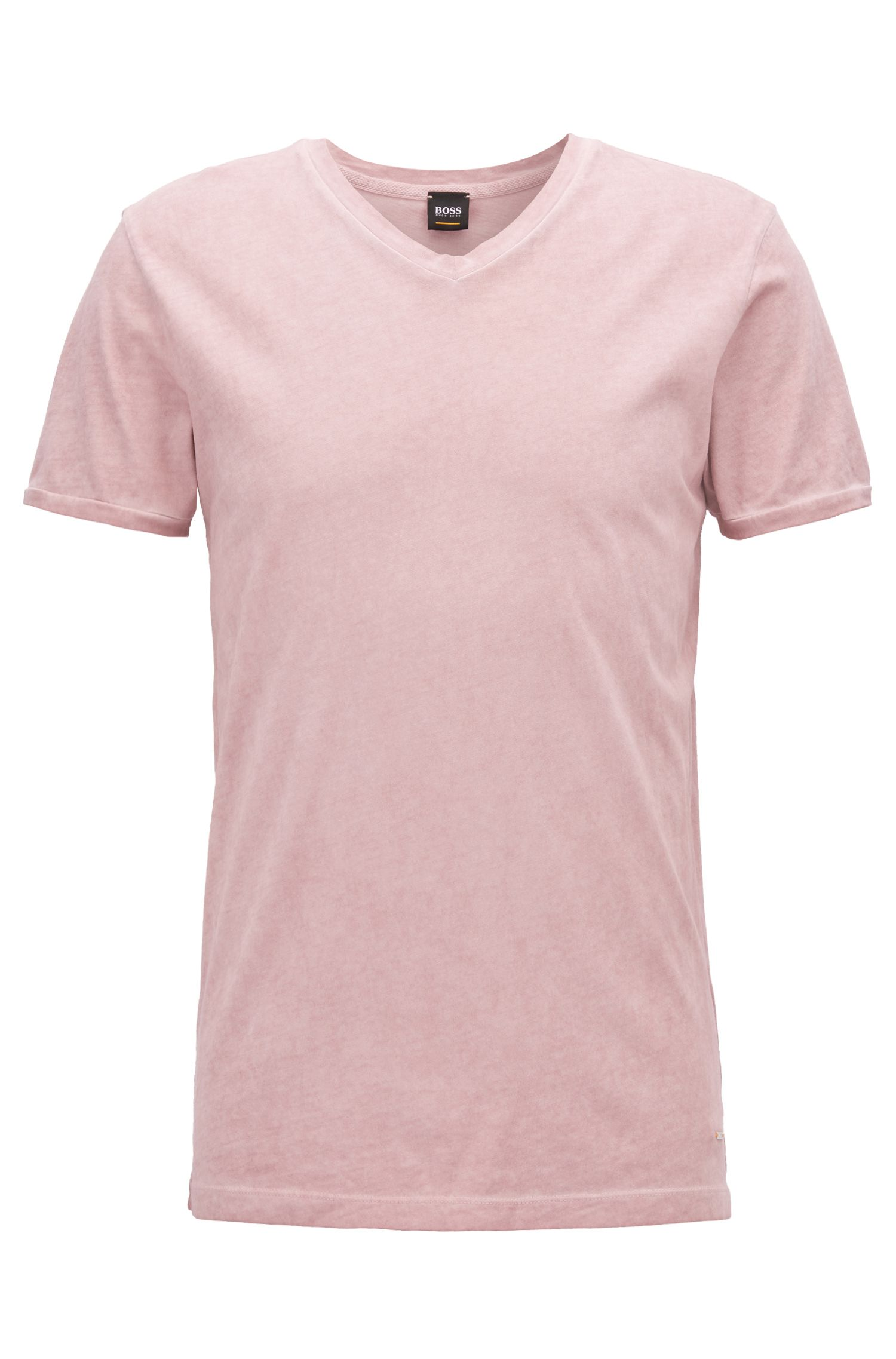 Regular-fit cotton T-shirt with V-neckline