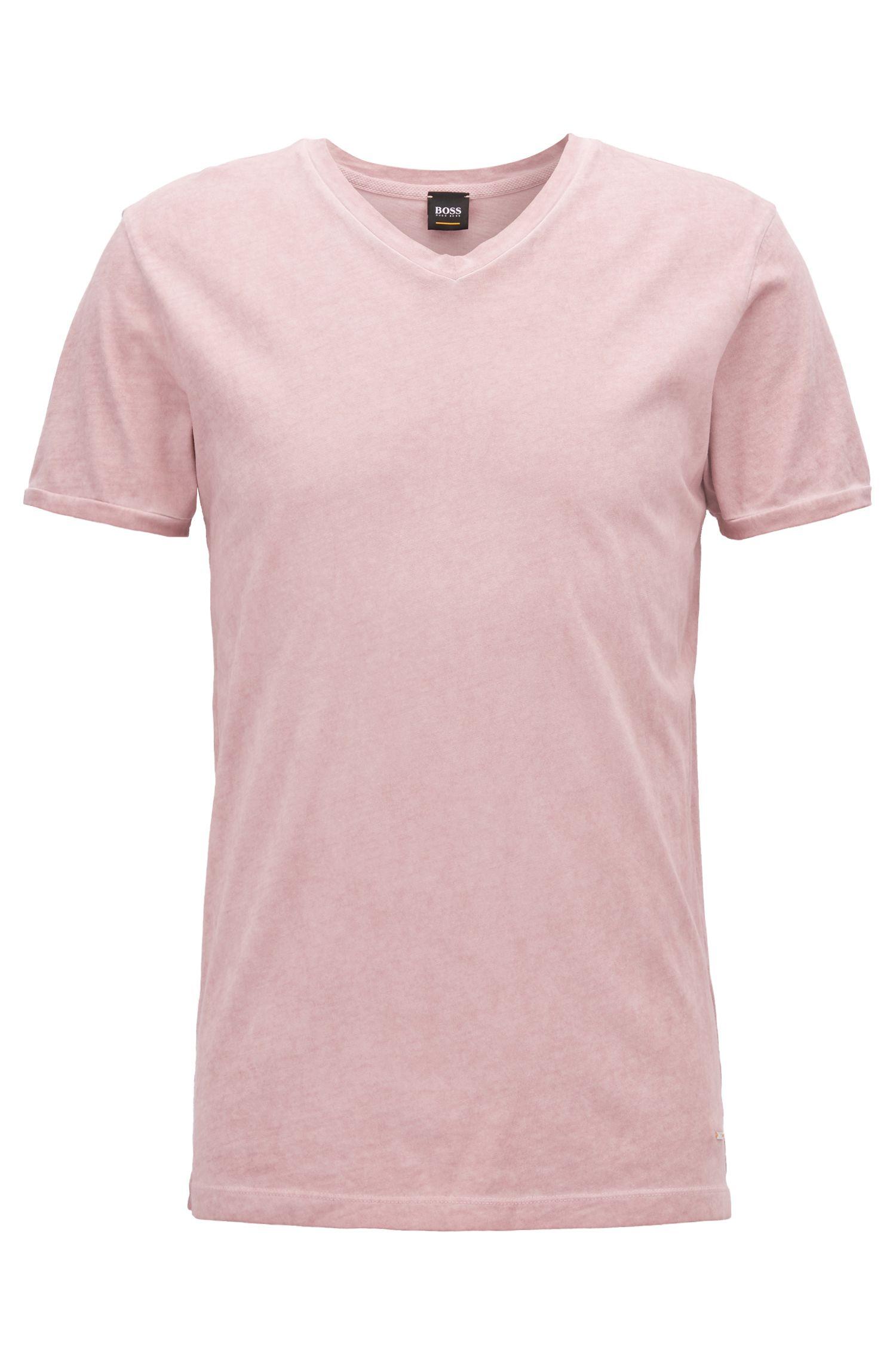 Camiseta de algodón regular fit con cuello en pico