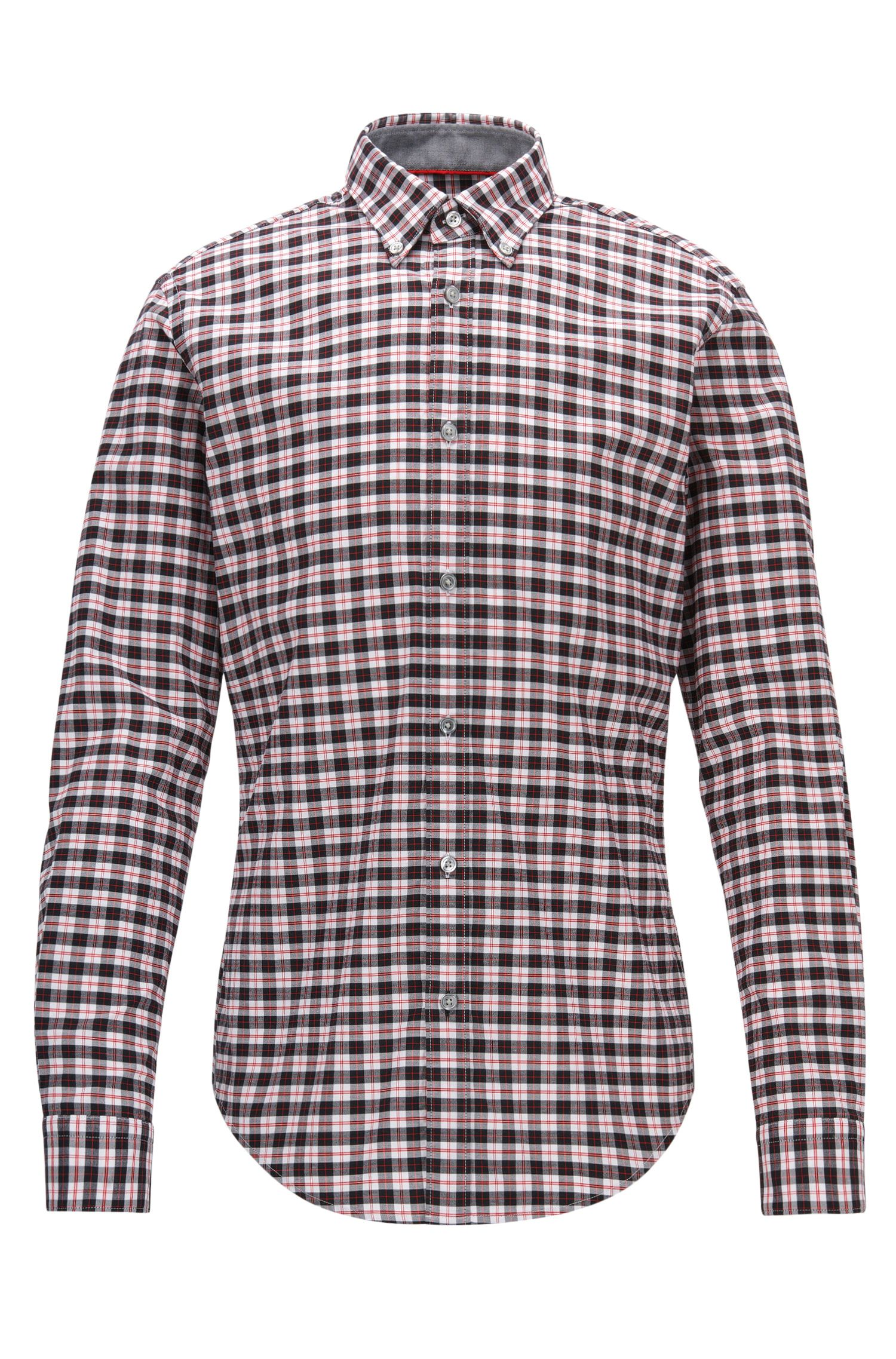 Chemise à carreaux Slim Fit en coton Oxford stretch