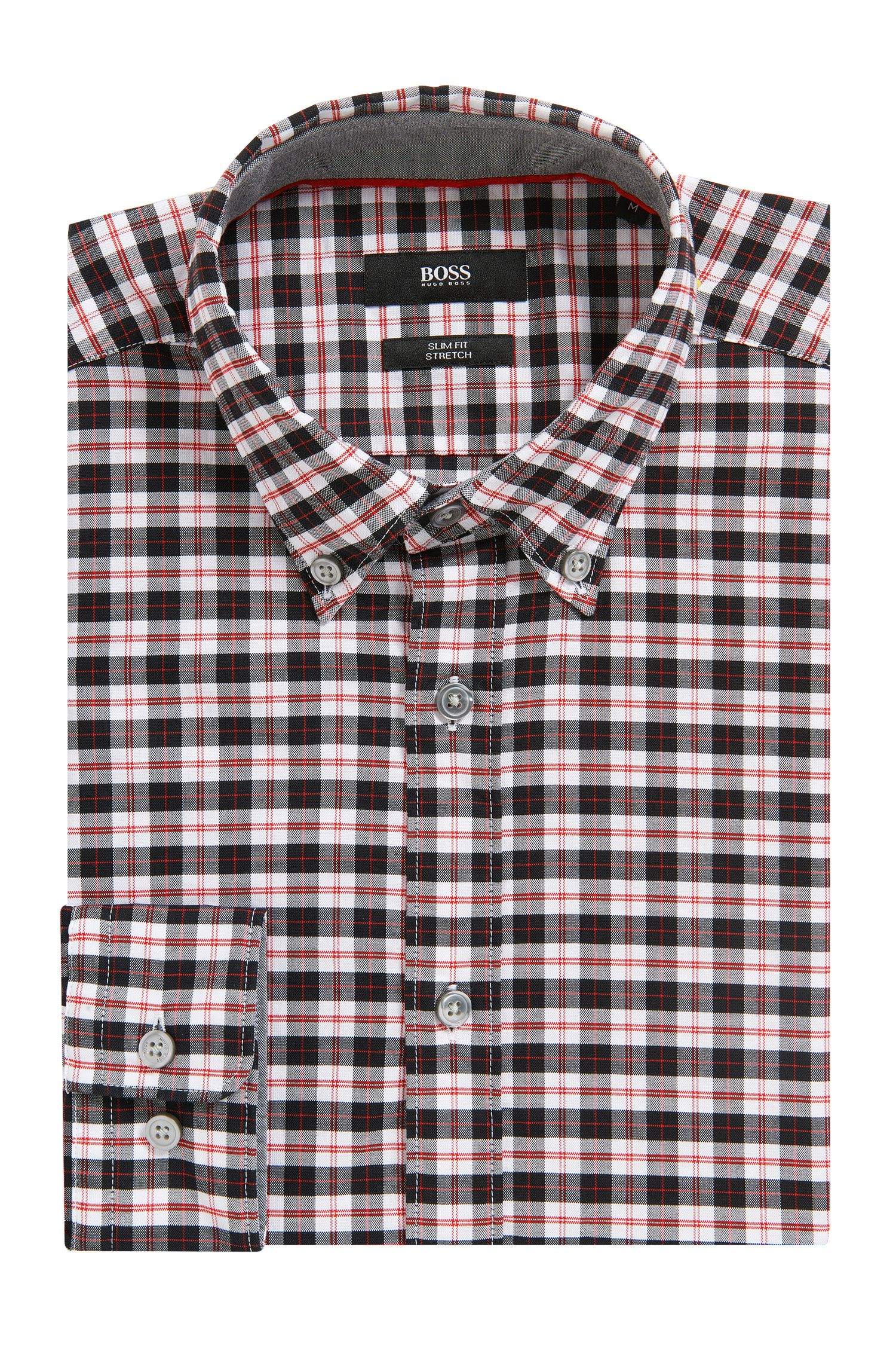 Slim-fit overhemd van Oxfordkatoen met stretch en ruitdessin