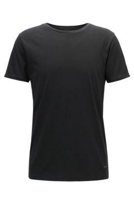 Camiseta regular fit en algodón teñido en prenda, Negro