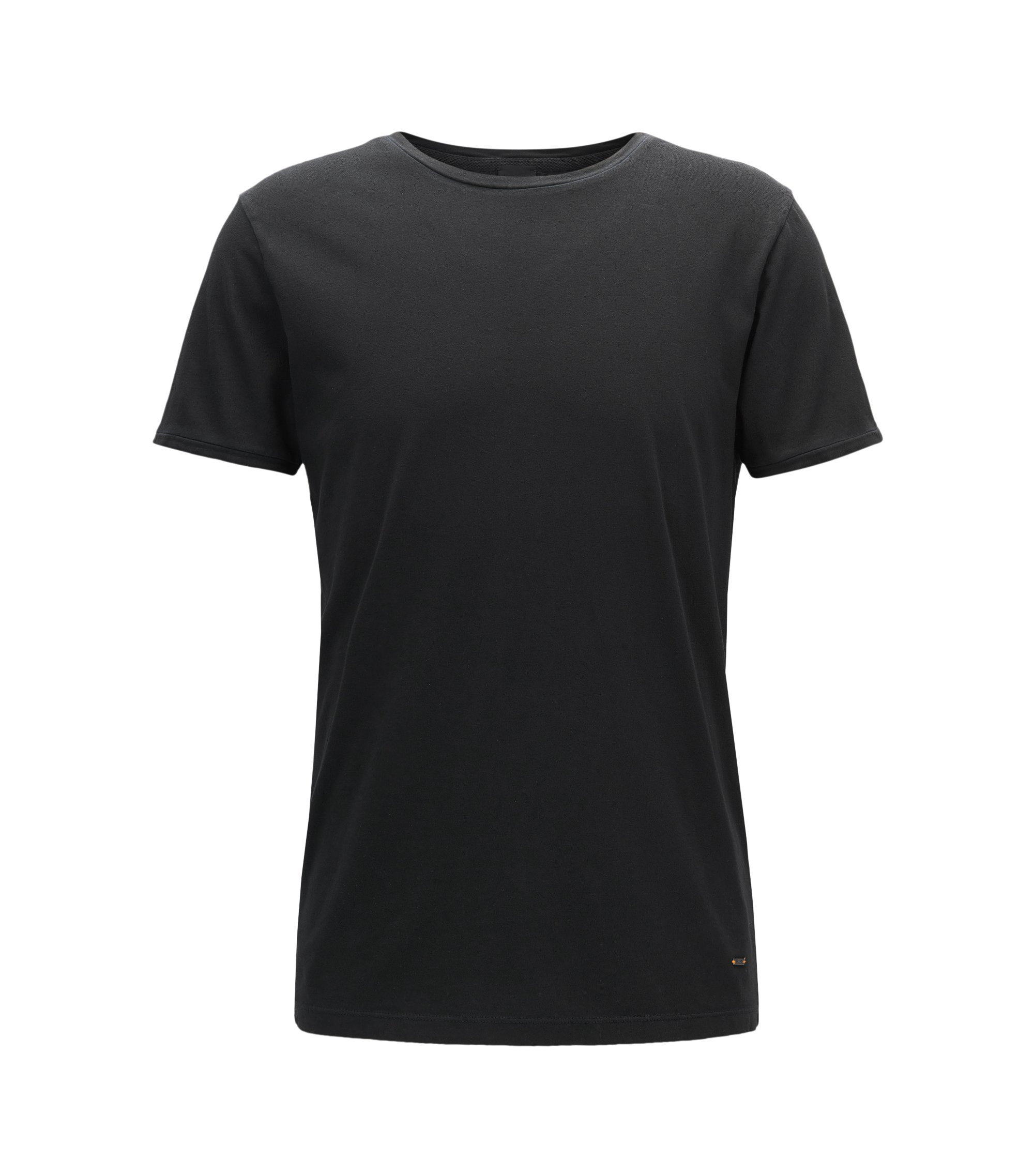 Stückgefärbtes Regular-Fit T-Shirt aus Baumwolle, Schwarz
