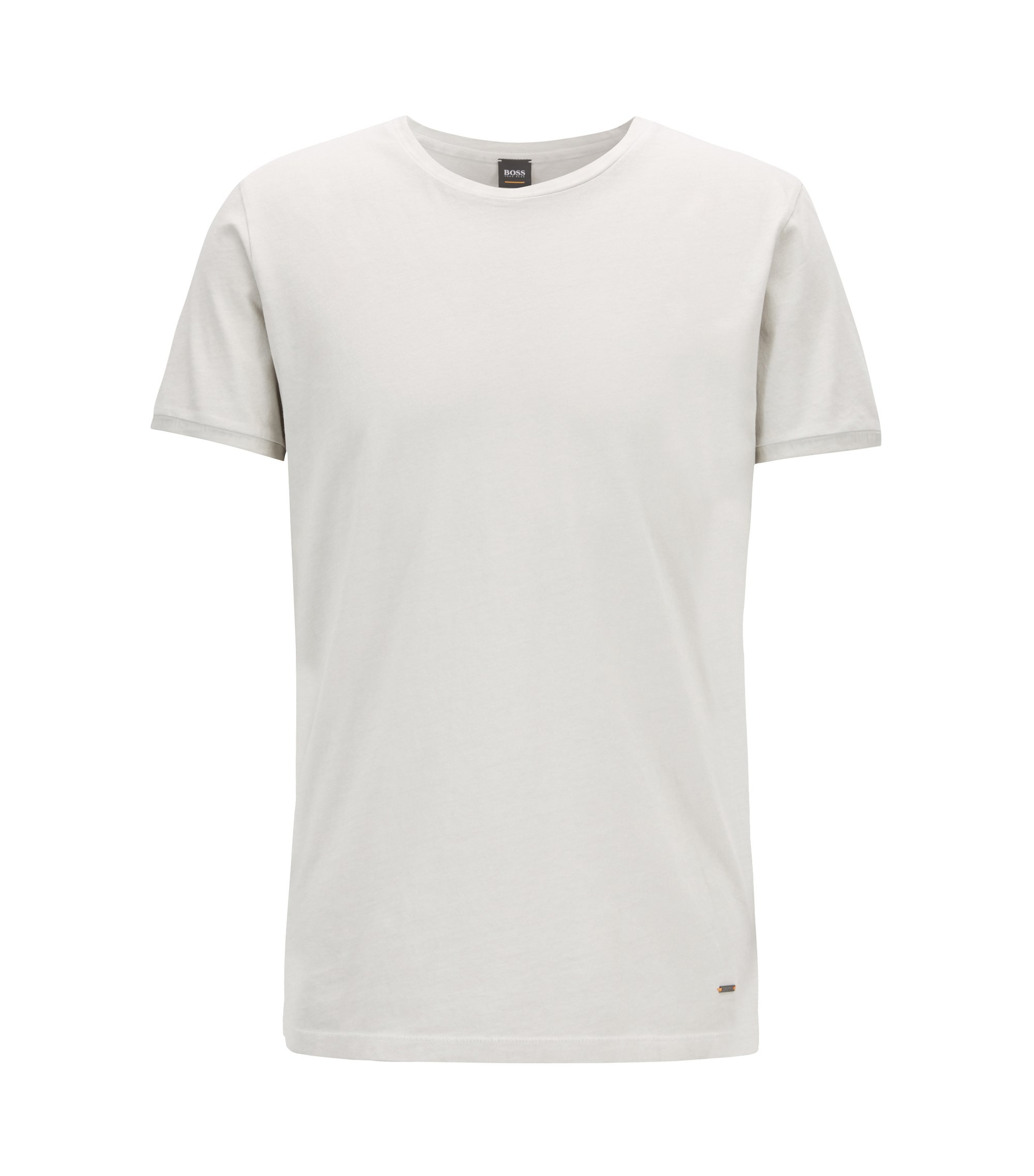Regular-fit garment-dyed T-shirt in cotton, Natural