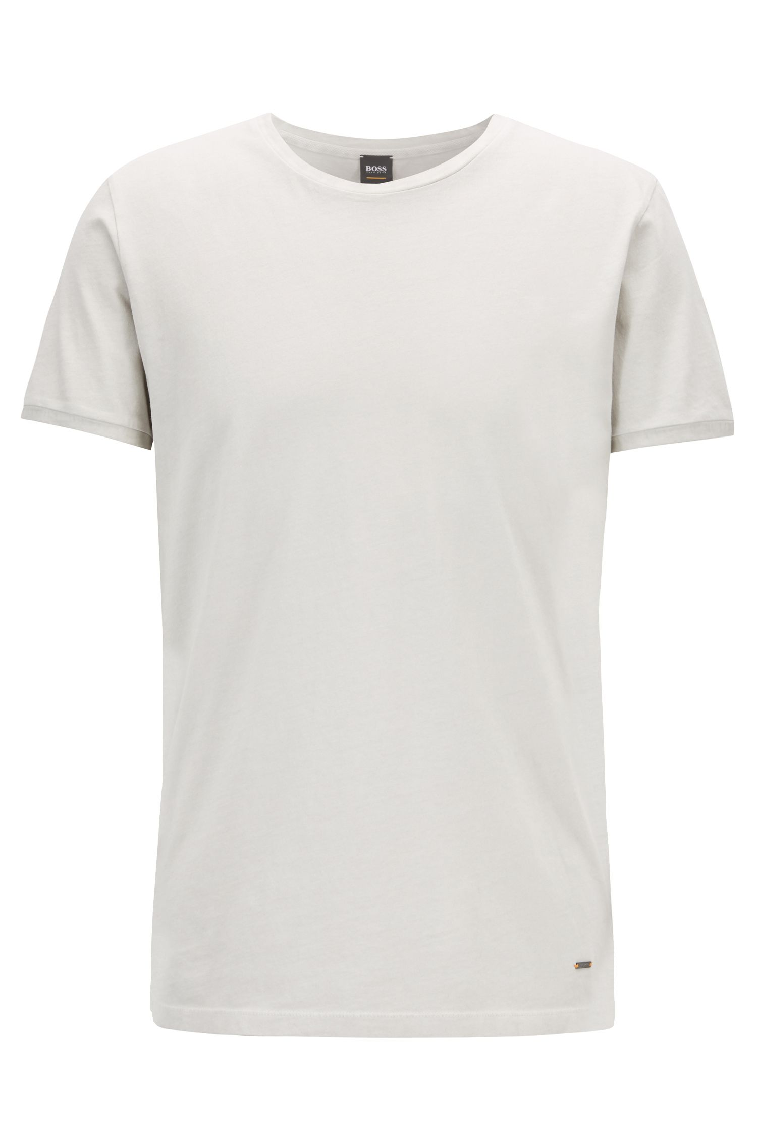 Regular-fit T-shirt van garment-dyed katoen, Naturel