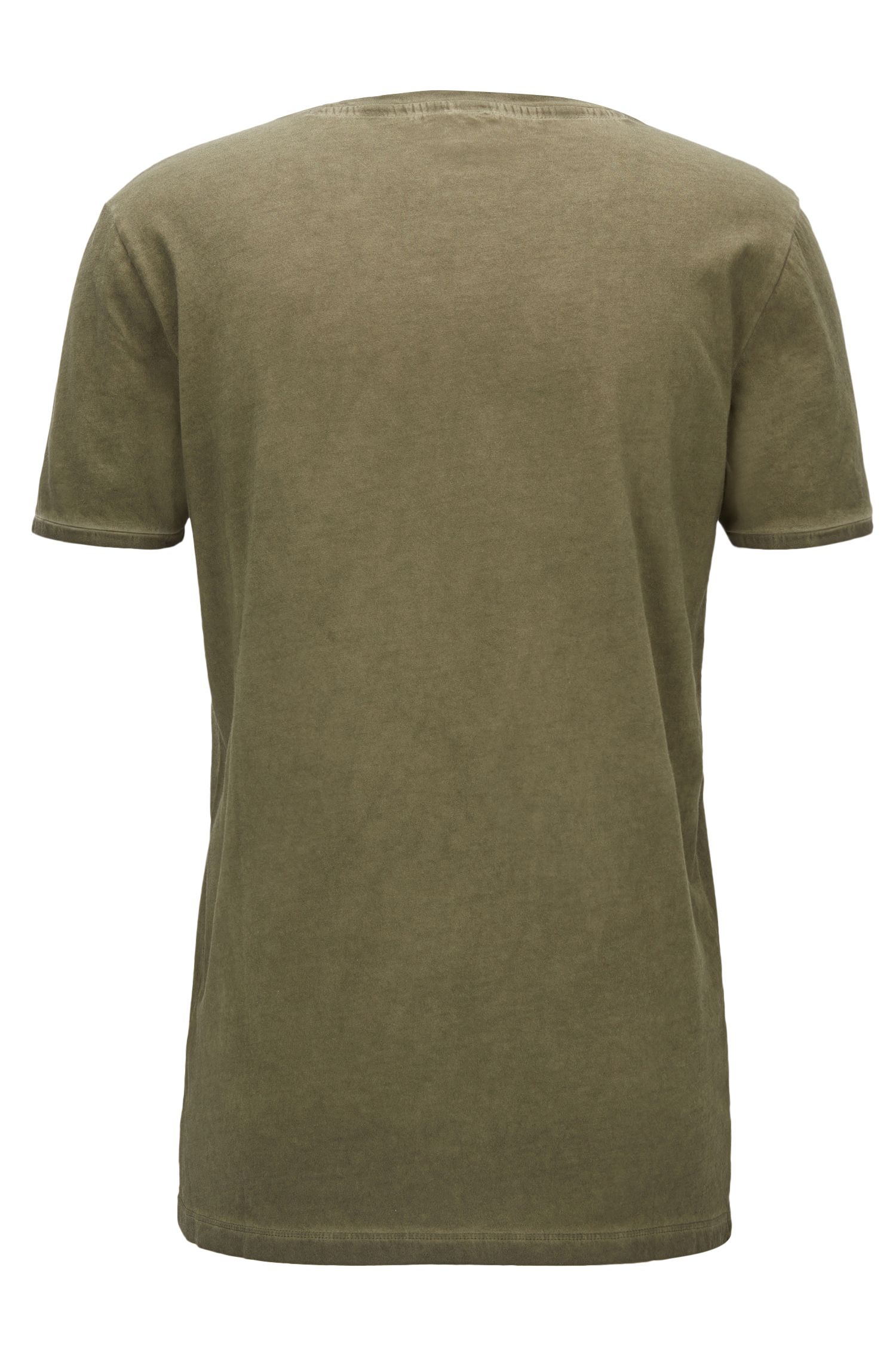 Regular-fit T-shirt van garment-dyed katoen, Kaki