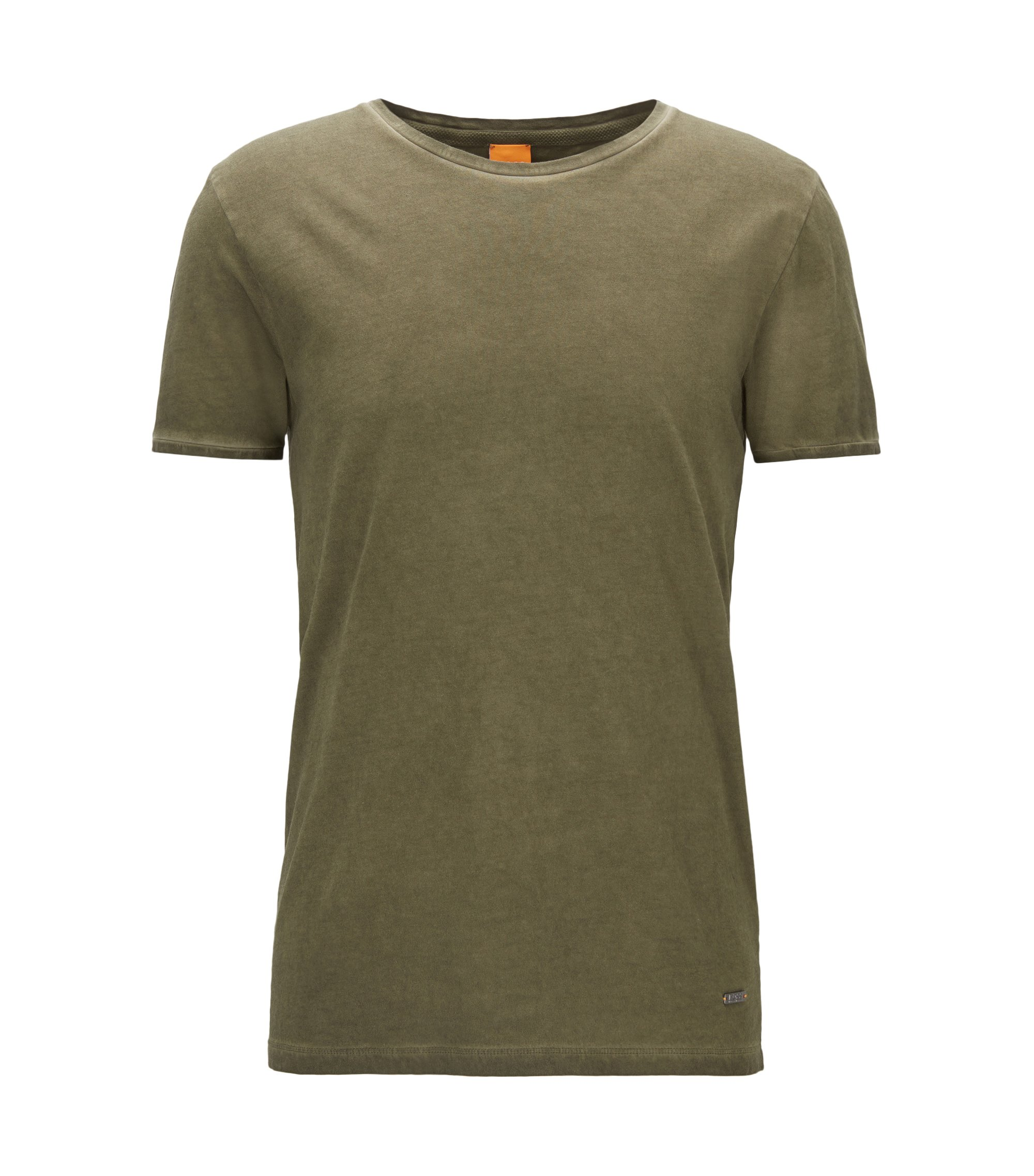 T-shirt regular fit in cotone tinto in capo, Kaki