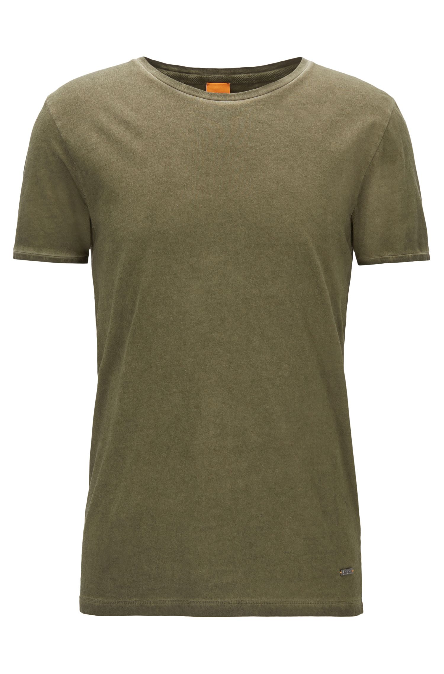 Regular-fit garment-dyed T-shirt in cotton, Khaki