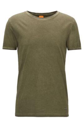 Regular-fit T-shirt van garment-dyed katoen, Kaki