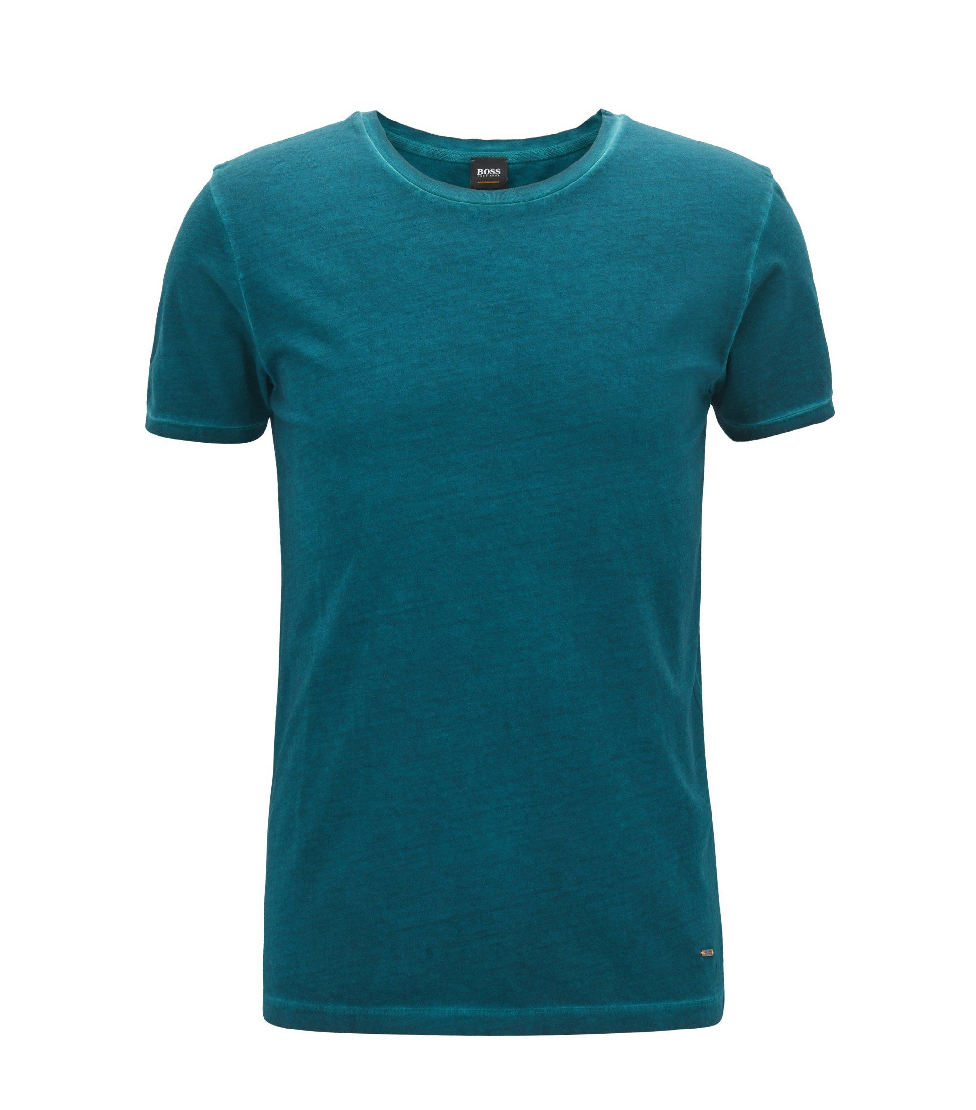 Regular-fit garment-dyed T-shirt in cotton, Dark Green