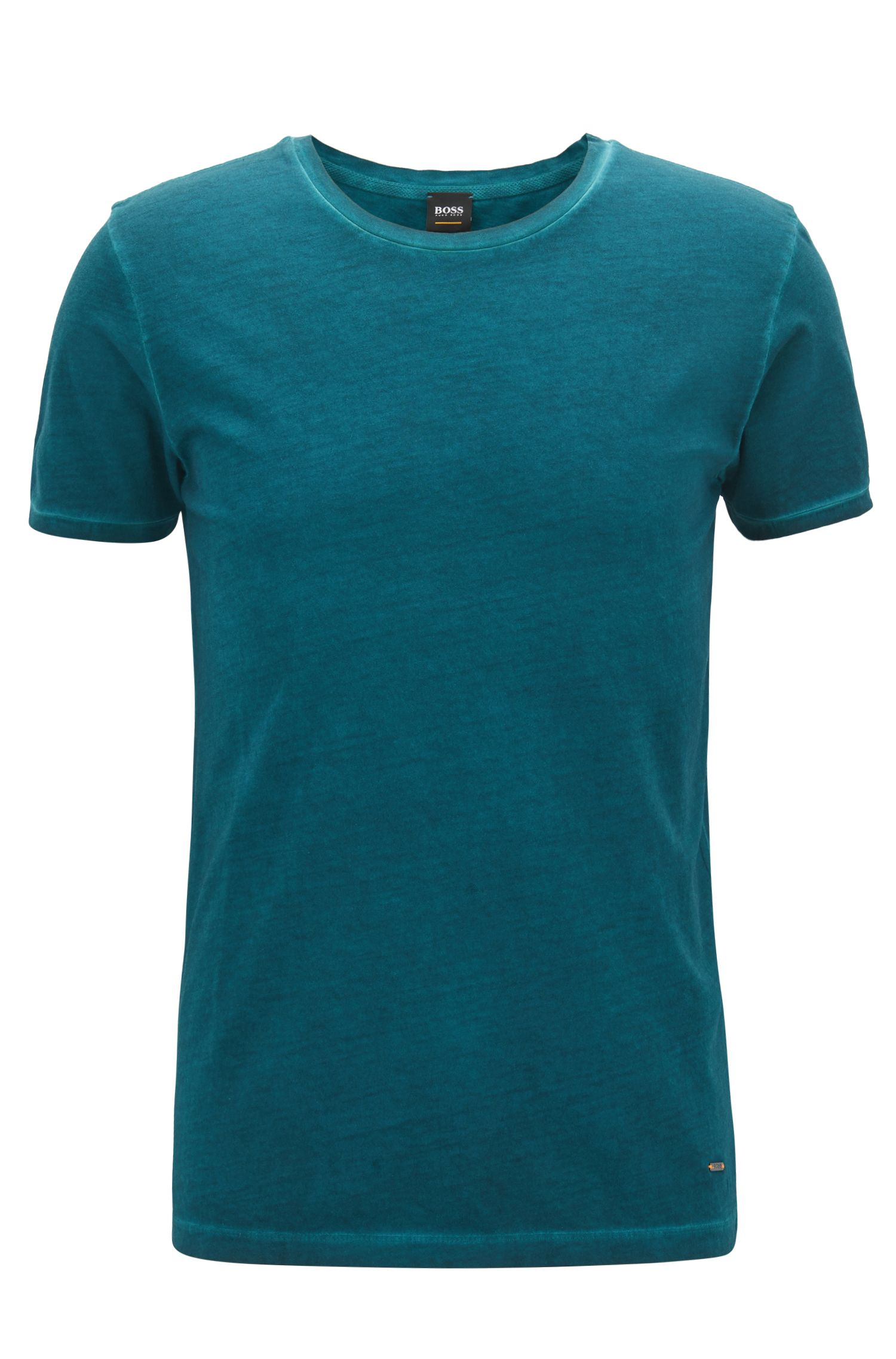Regular-fit garment-dyed T-shirt in cotton, Dark Green