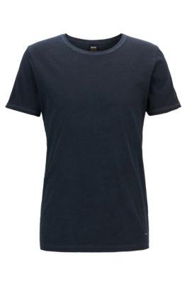 Camiseta regular fit en algodón teñido en prenda, Azul oscuro
