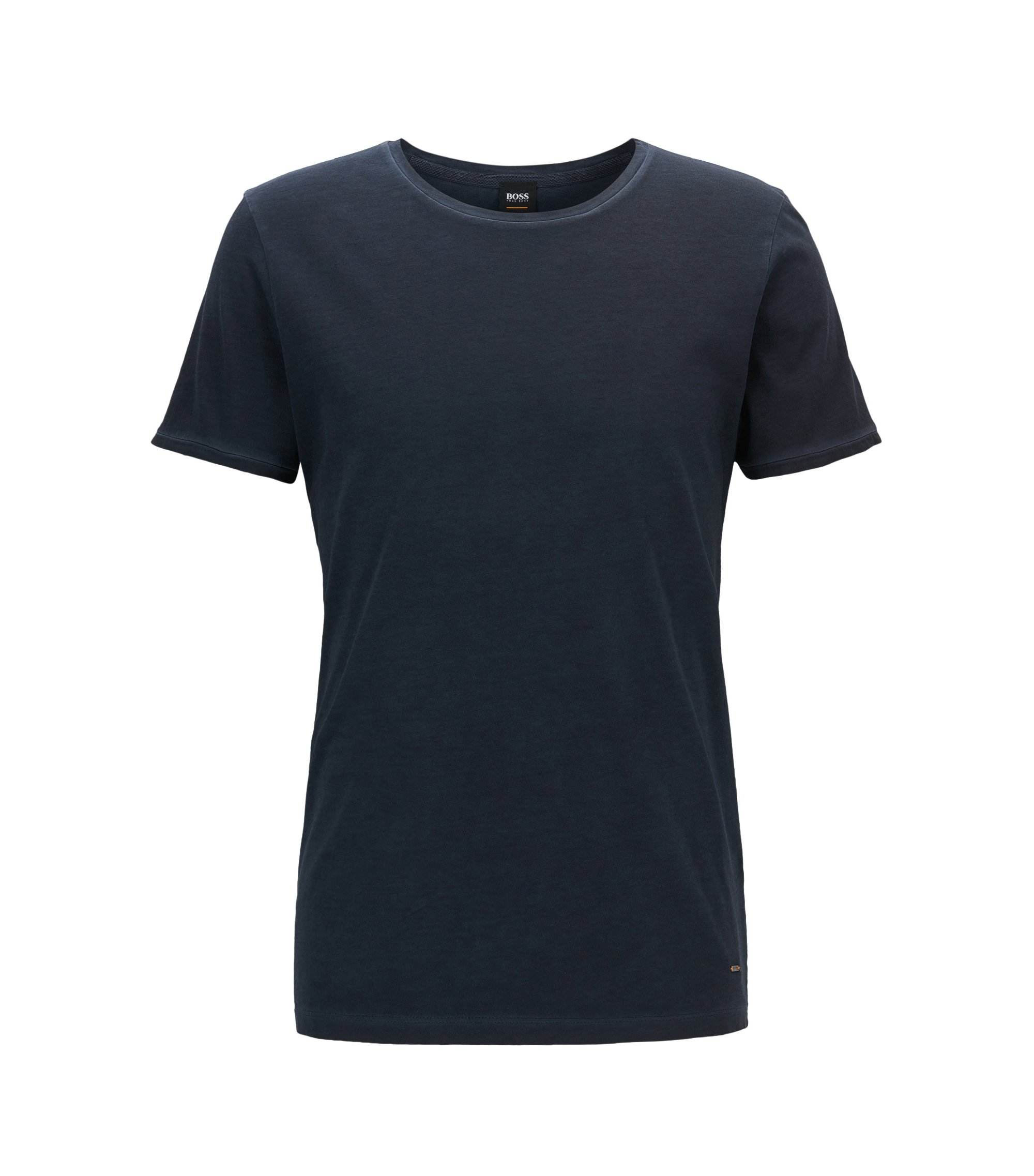 T-shirt Regular Fit en coton teint en pièce, Bleu foncé