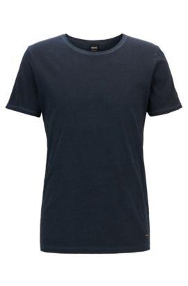 T-shirt regular fit in cotone tinto in capo, Blu scuro