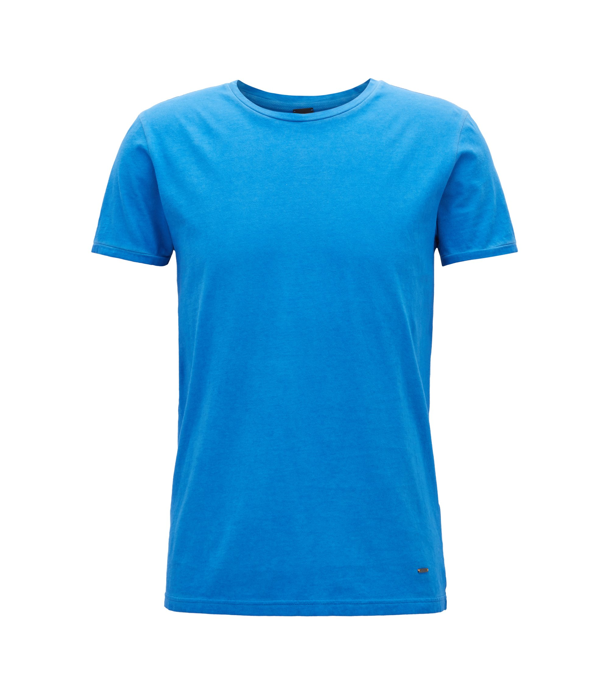 Regular-fit garment-dyed T-shirt in cotton, Blue