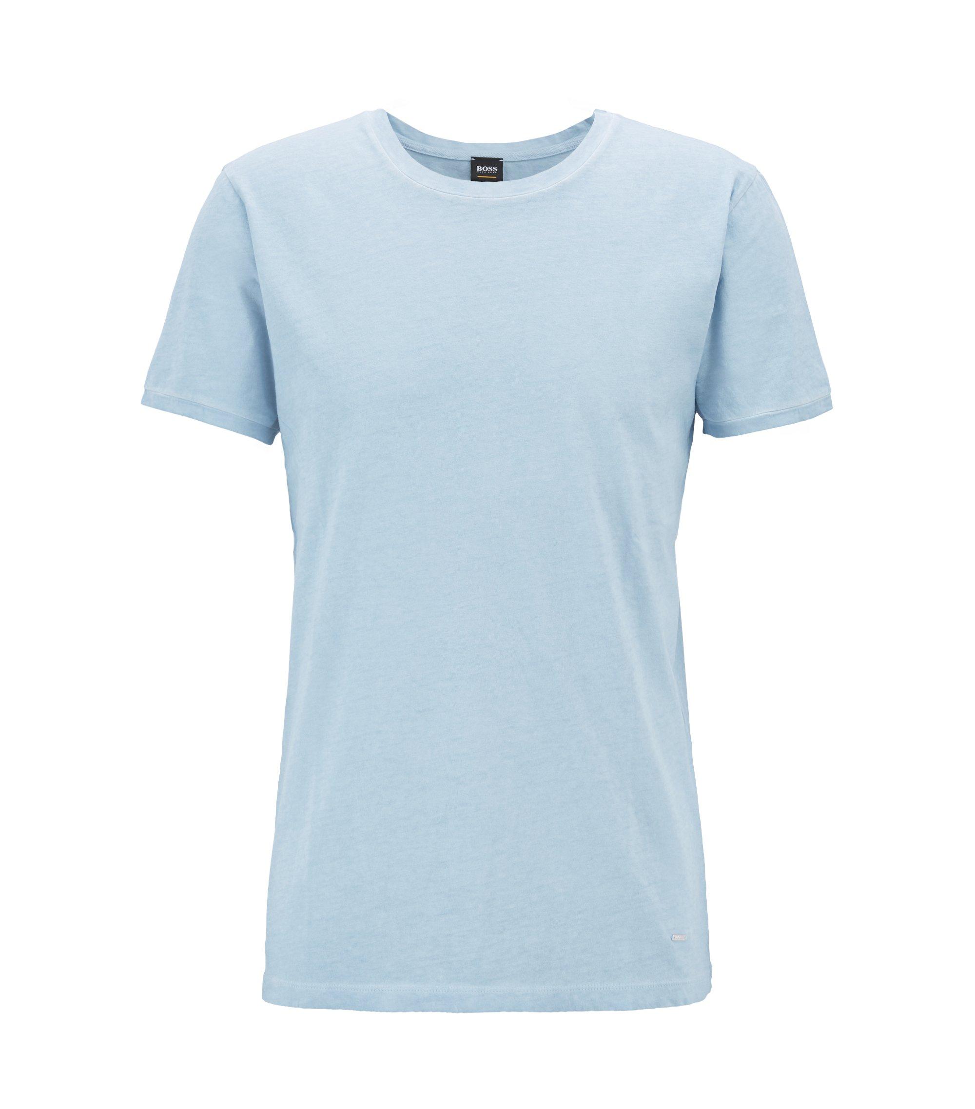 T-shirt Regular Fit en coton teint en pièce, Bleu vif