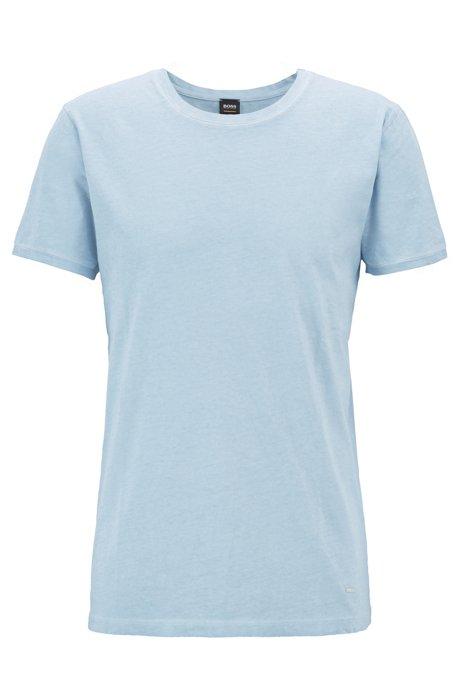 Camiseta regular fit en algodón teñido en prenda, Celeste